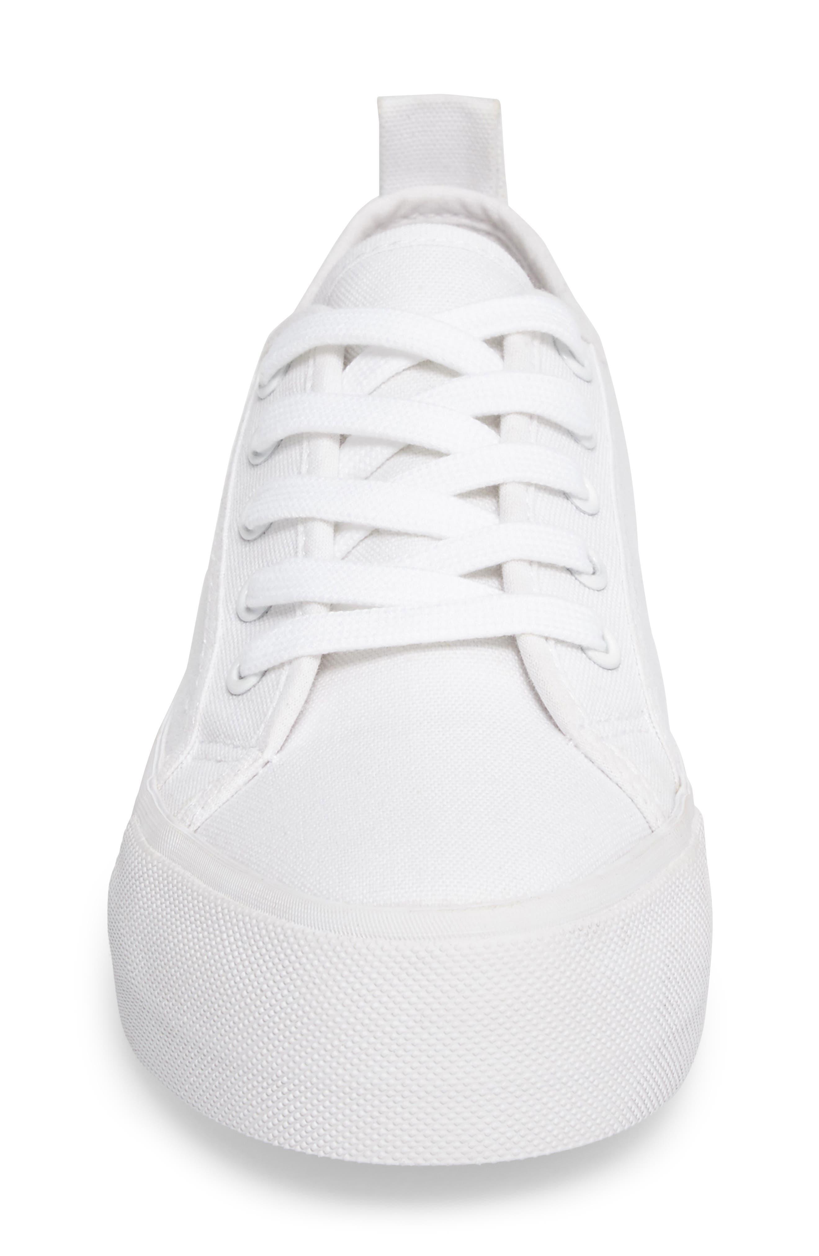 Sneak Platform Sneaker,                             Alternate thumbnail 4, color,                             White Canvas