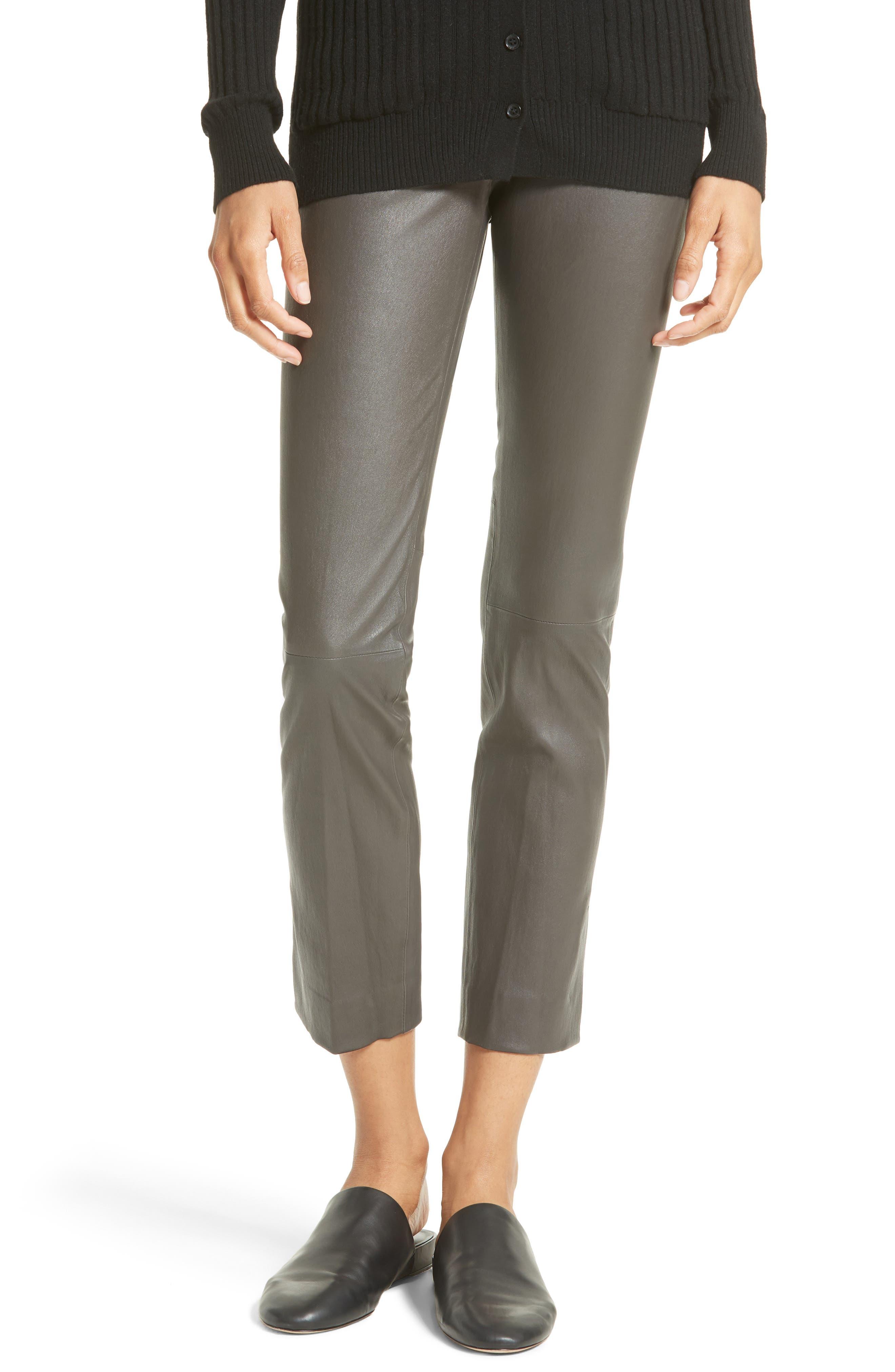 Slit Hem Crop Leather Pants,                         Main,                         color, Graphite