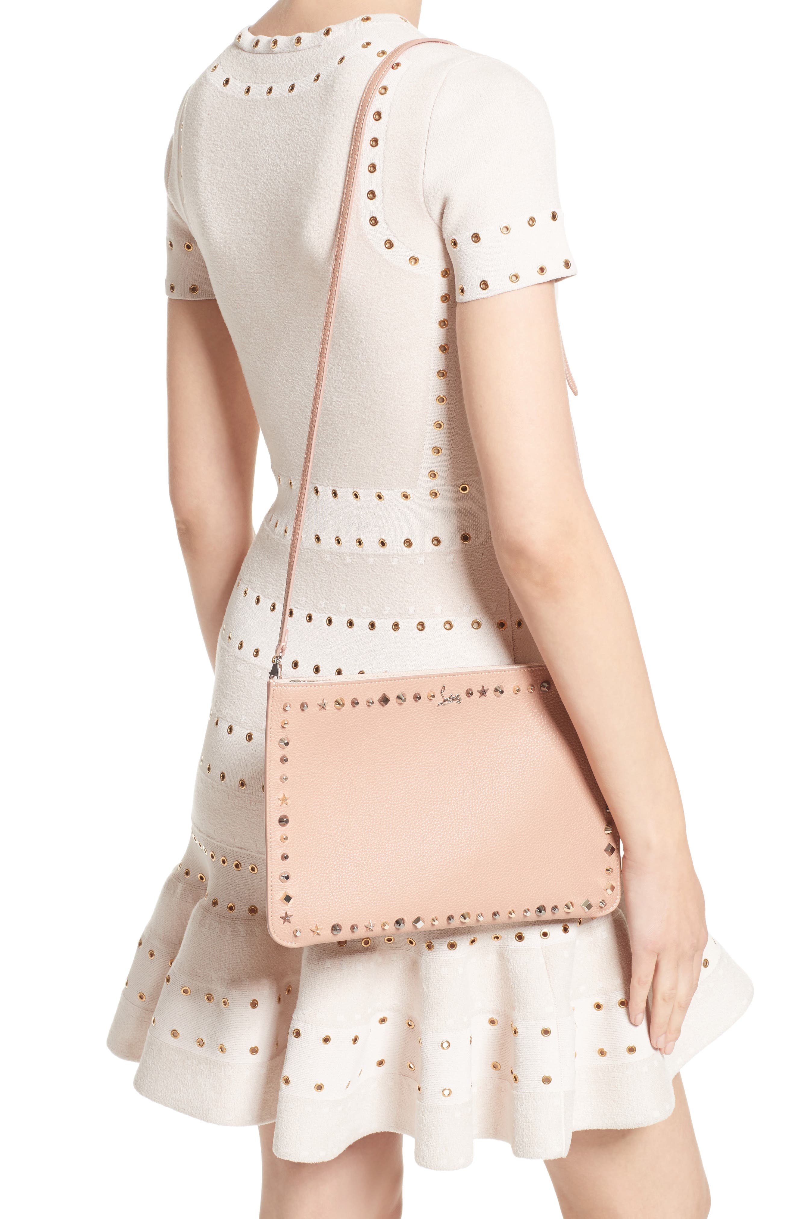 Loubiclutch Spiked Leather Clutch,                             Alternate thumbnail 2, color,                             Nude/ Multimetal