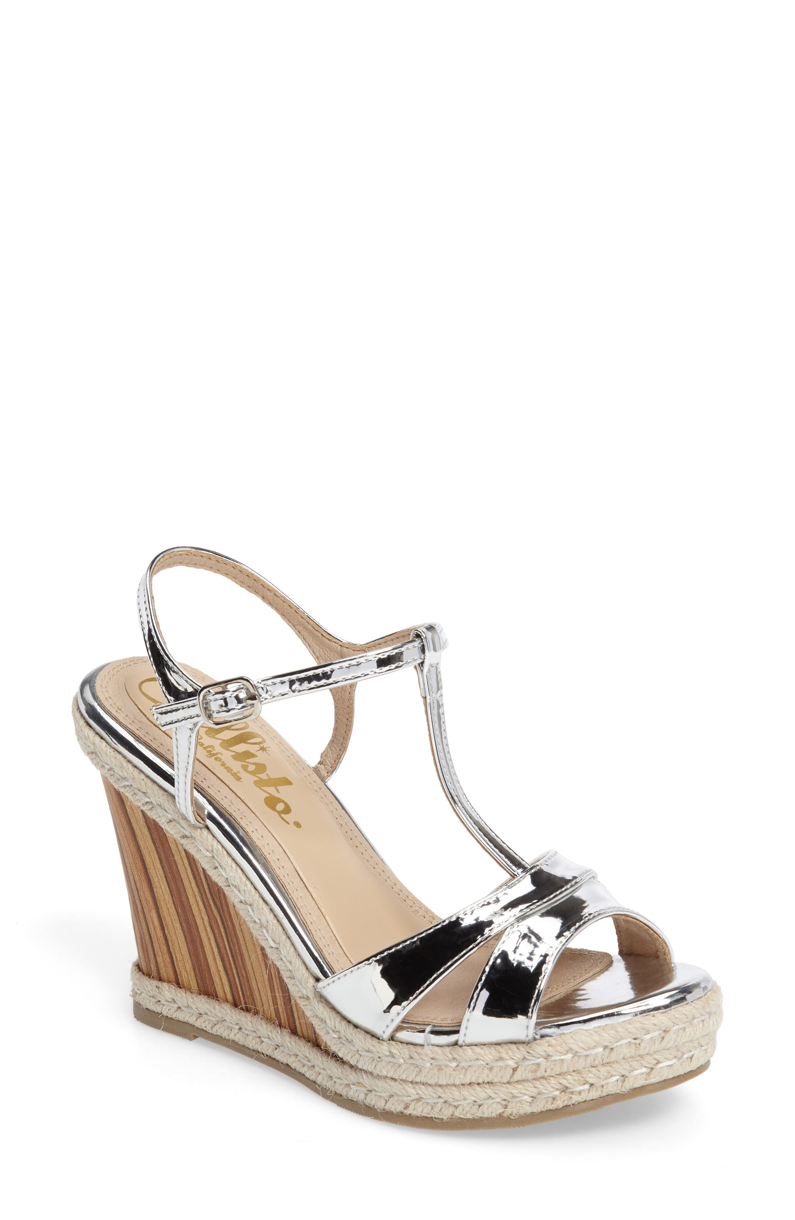 Alinna T-Strap Wedge Sandal,                             Main thumbnail 1, color,                             Silver Faux Leather