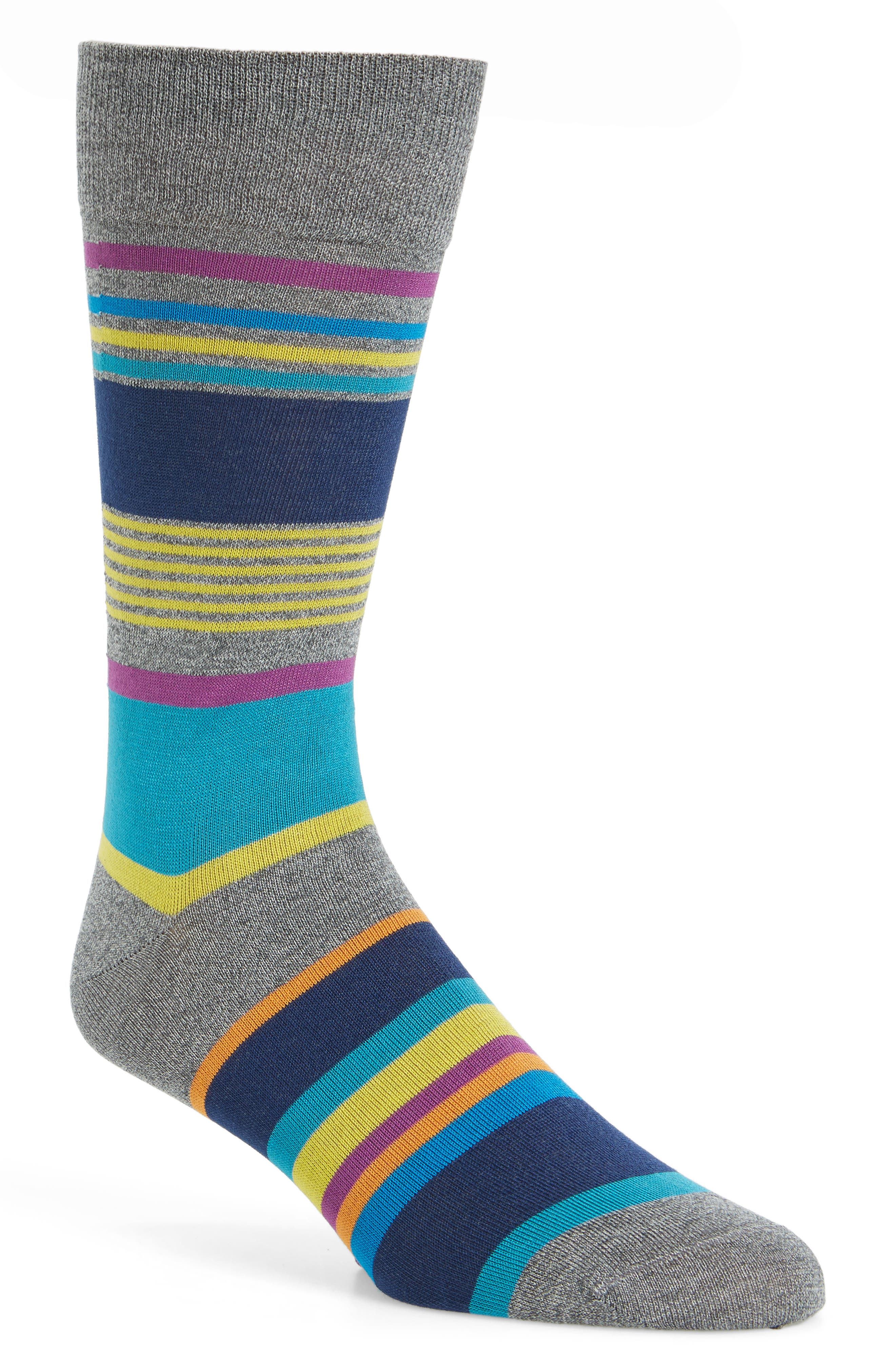 Stripe Socks,                         Main,                         color, Platinum/ Blue