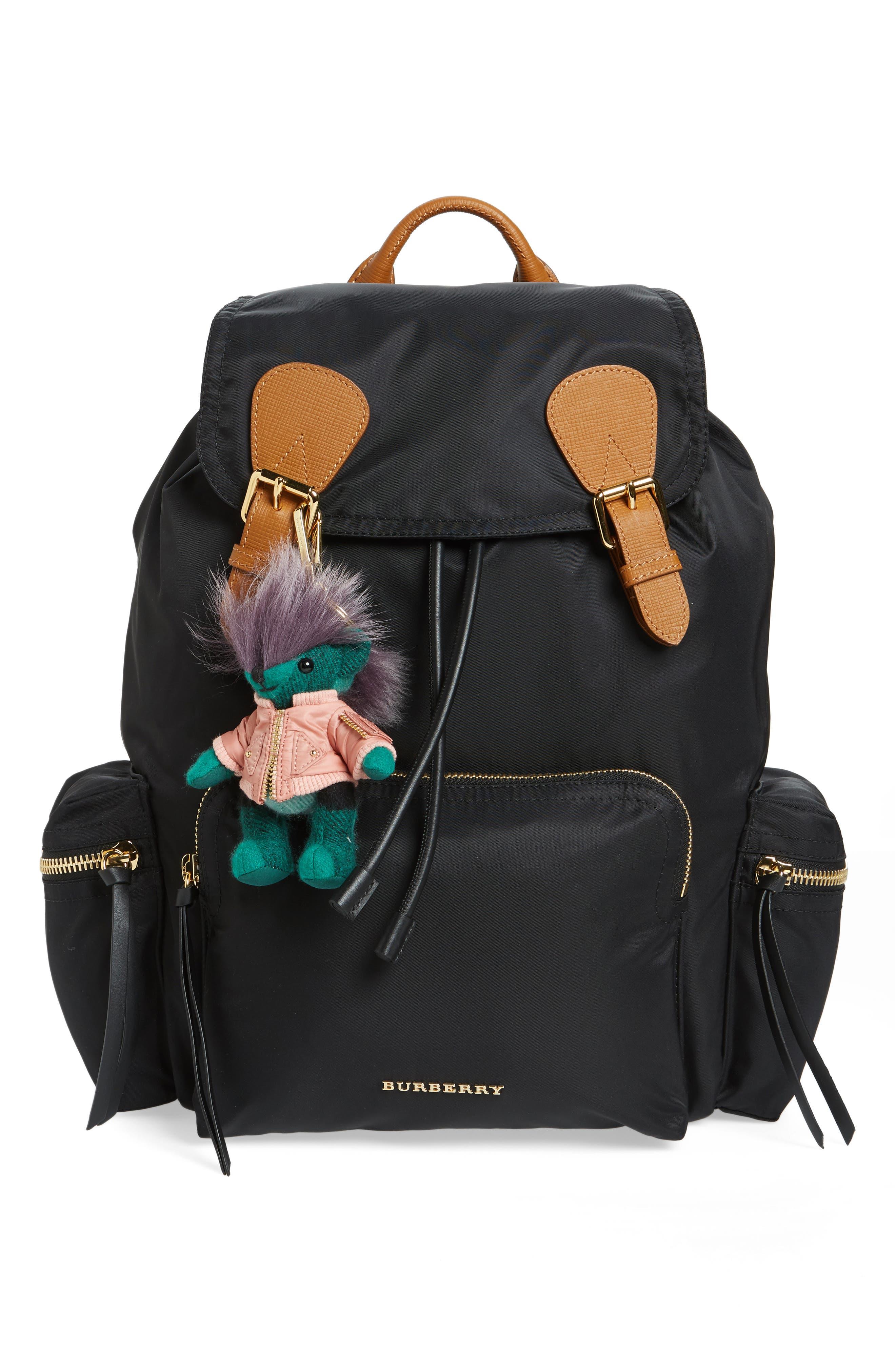 Alternate Image 2  - Burberry Thomas Bear Cashmere & Genuine Shearling Bag Charm