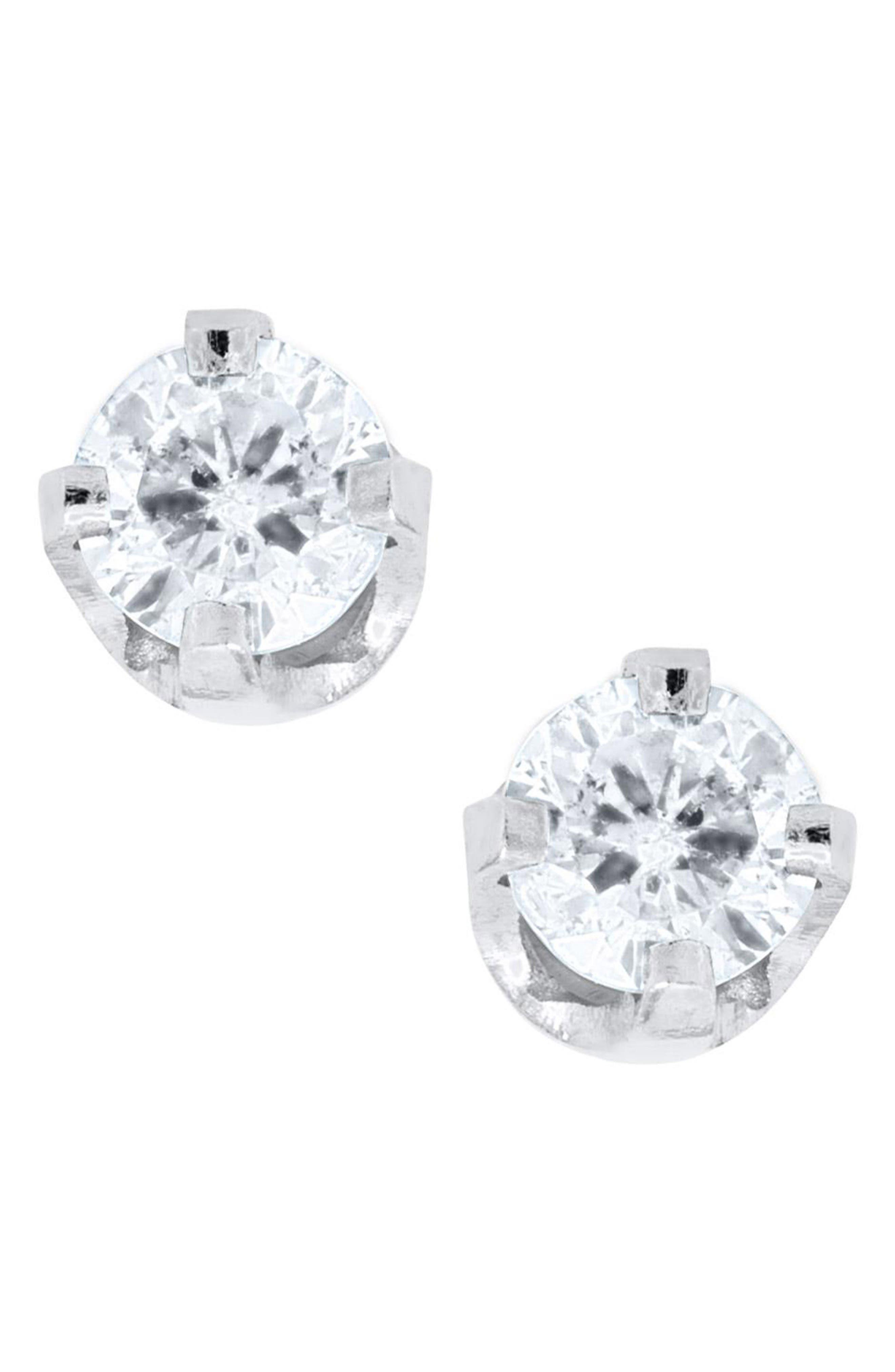14k White Gold & Diamond Earrings,                             Main thumbnail 1, color,                             White