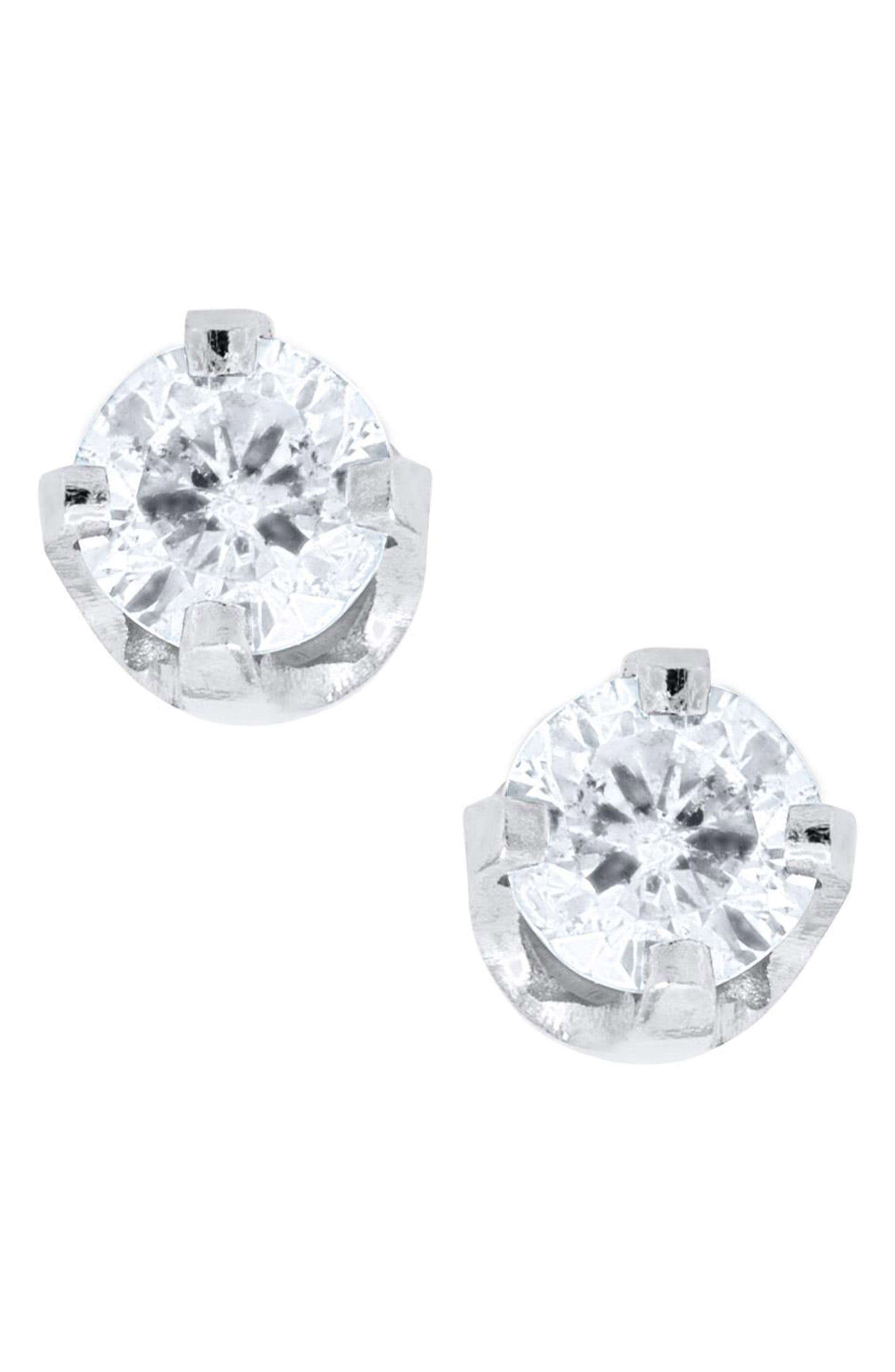 Mignonette 14k White Gold & Diamond Earrings (Baby Girls)