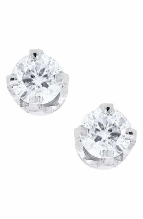 Mignonette 14k White Gold Diamond Earrings Baby S