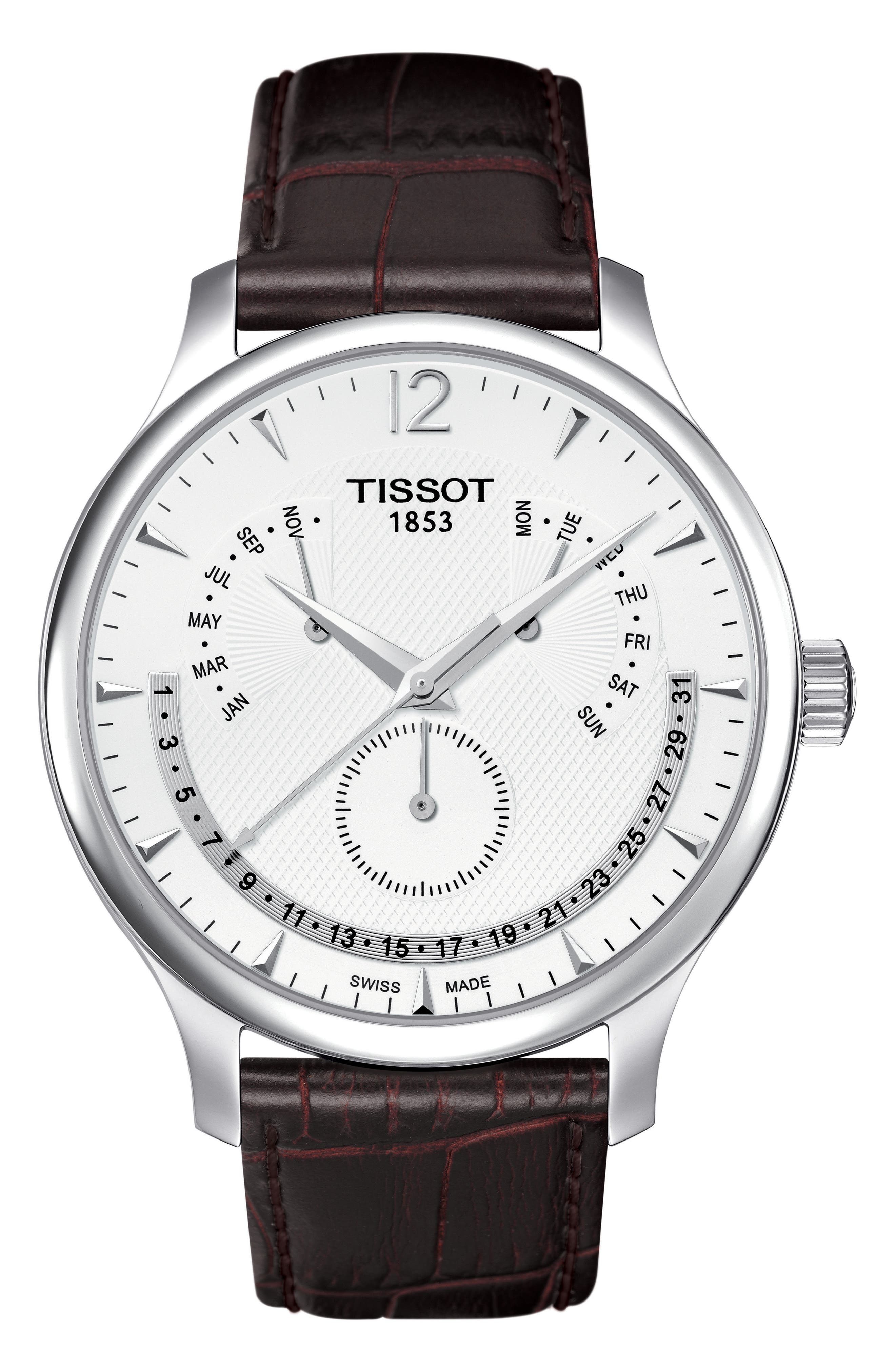 Tradition Calendar Leather Strap Watch, 42mm,                         Main,                         color, Brown/ Silver
