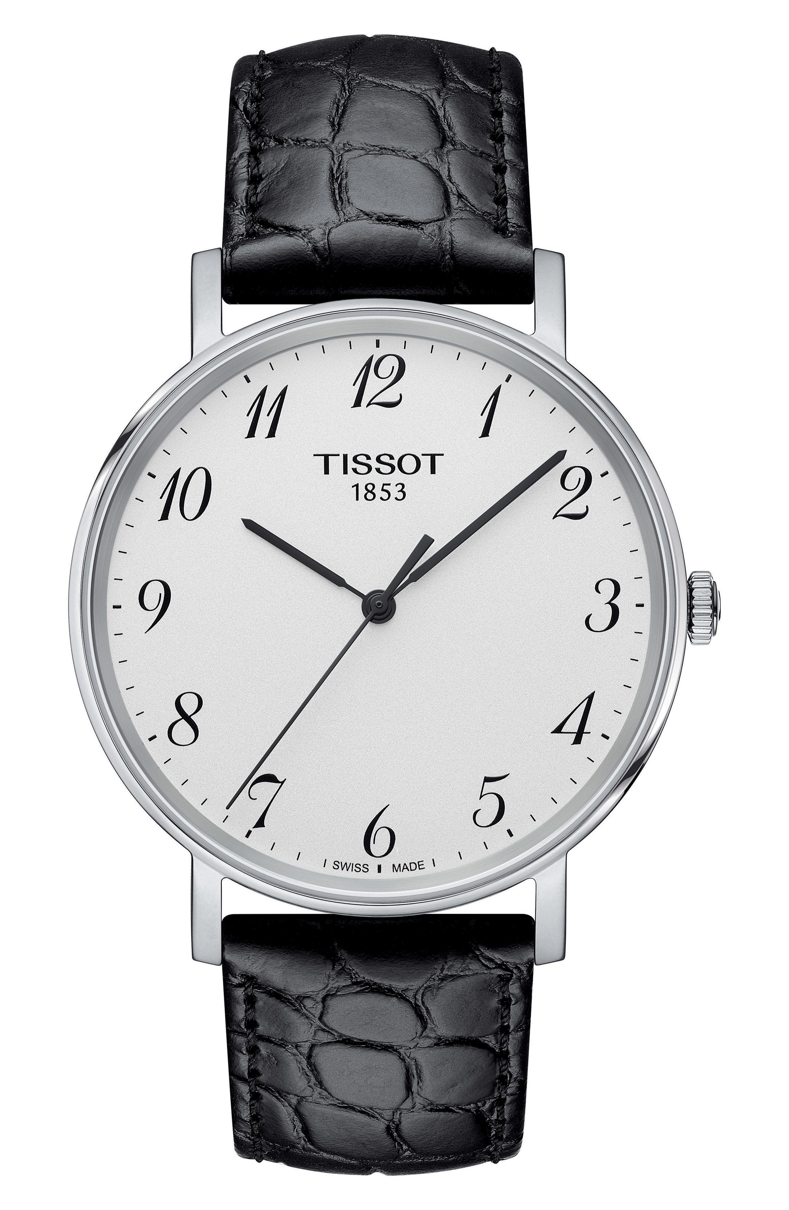 Alternate Image 1 Selected - Tissot Everytime Leather Strap Watch, 38mm