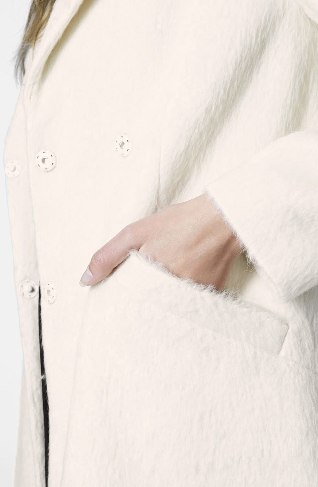 'Molly' Double Breasted Swing Coat,                             Alternate thumbnail 4, color,                             White