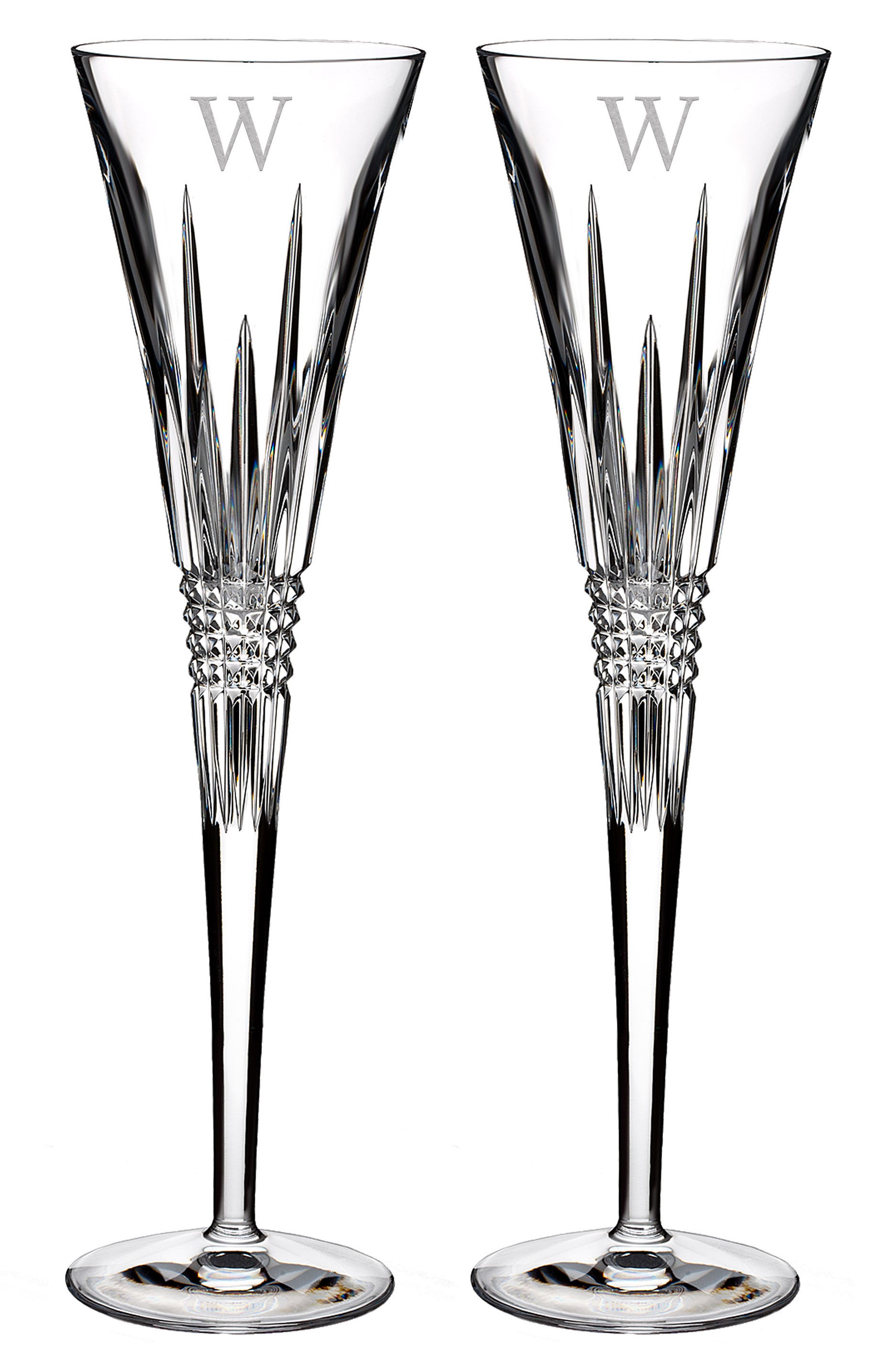 Lismore Diamond Set of 2 Monogram Lead Crystal Champagne Flutes,                             Main thumbnail 1, color,                             Clear - W