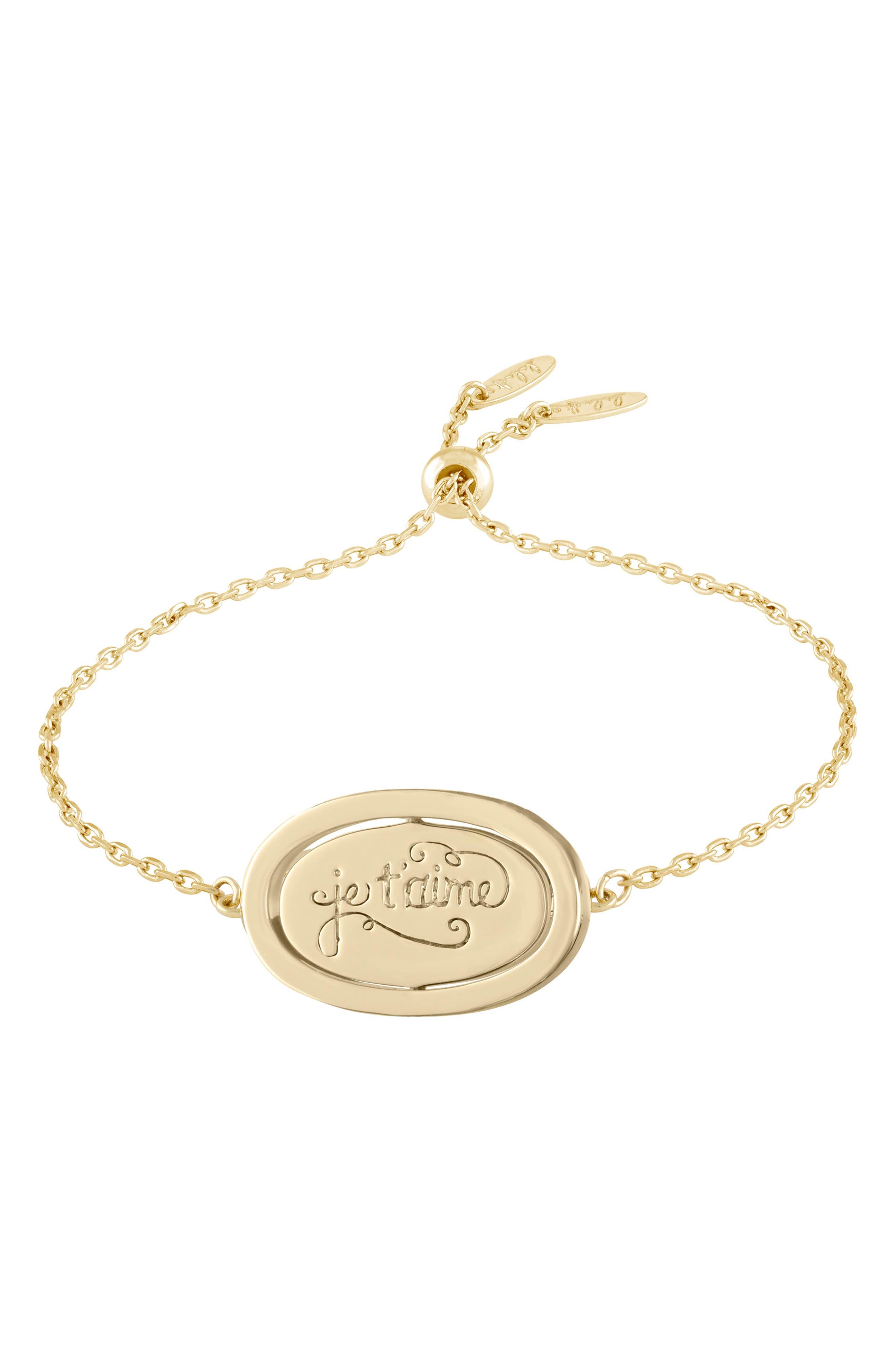 Love Letters Spinning Pendant Bracelet,                             Alternate thumbnail 4, color,                             Je Taime/ Gold