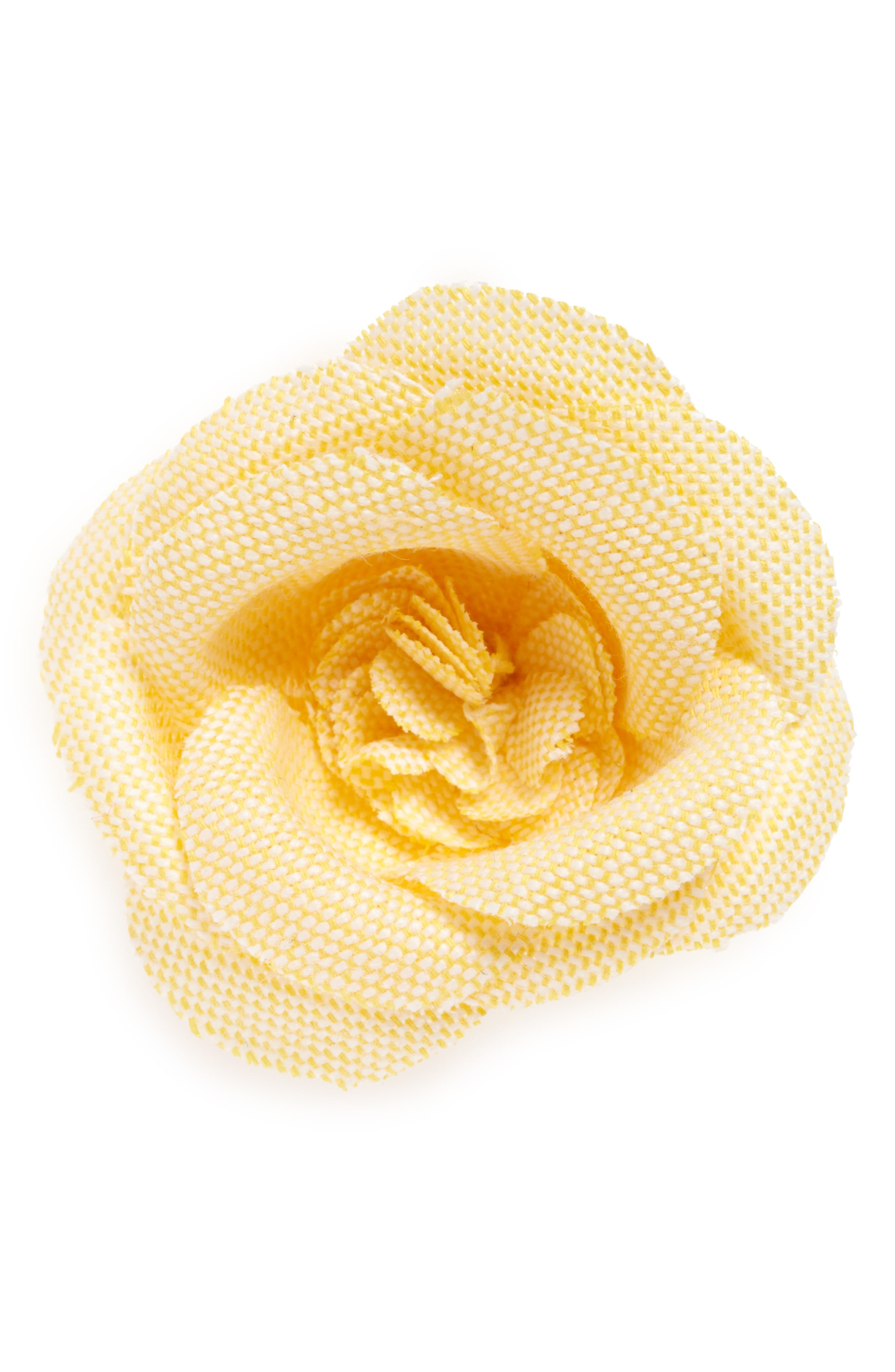 Chambray Lapel Flower,                         Main,                         color, Yellow