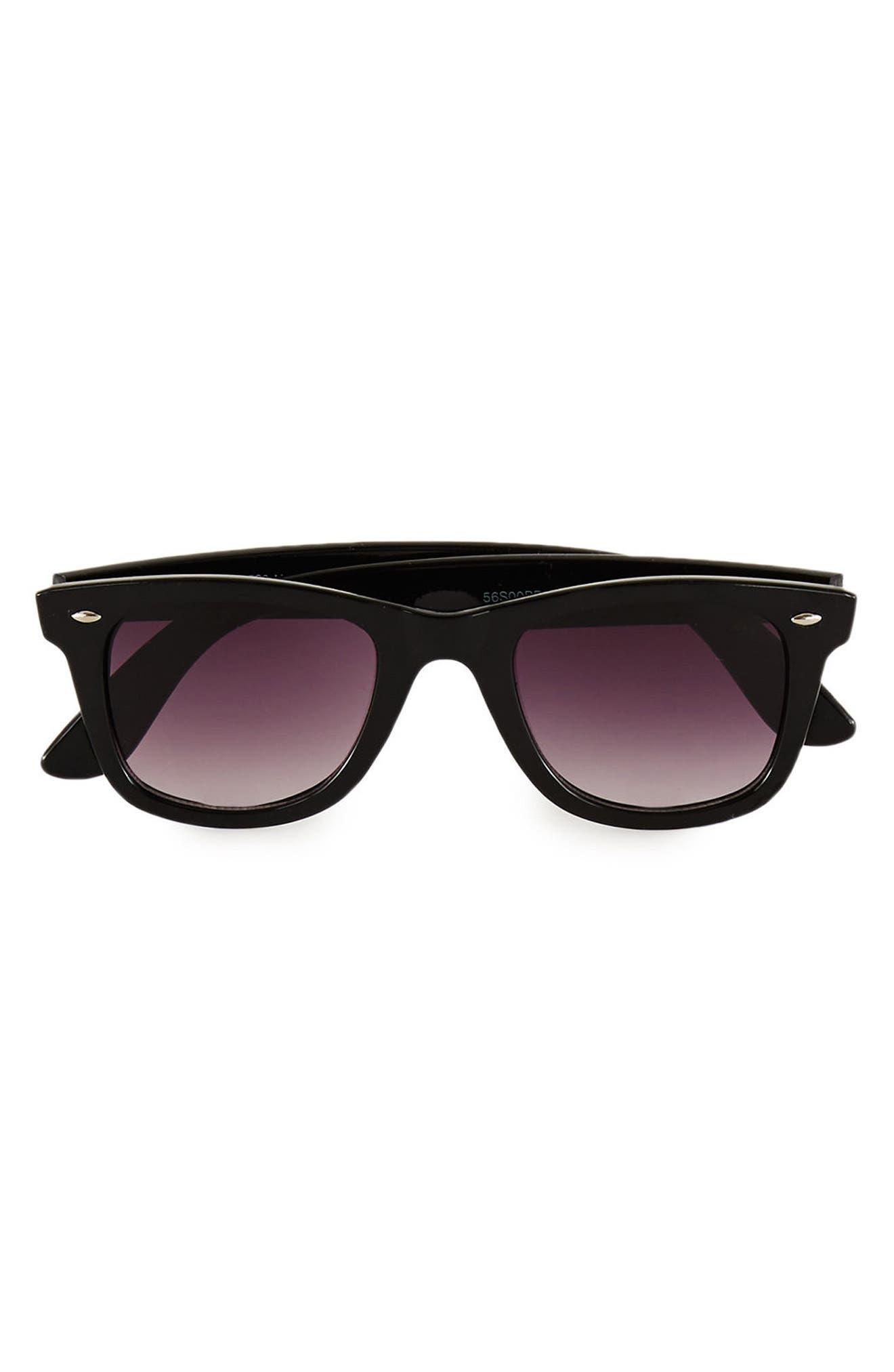 48mm Round Sunglasses,                         Main,                         color, Black