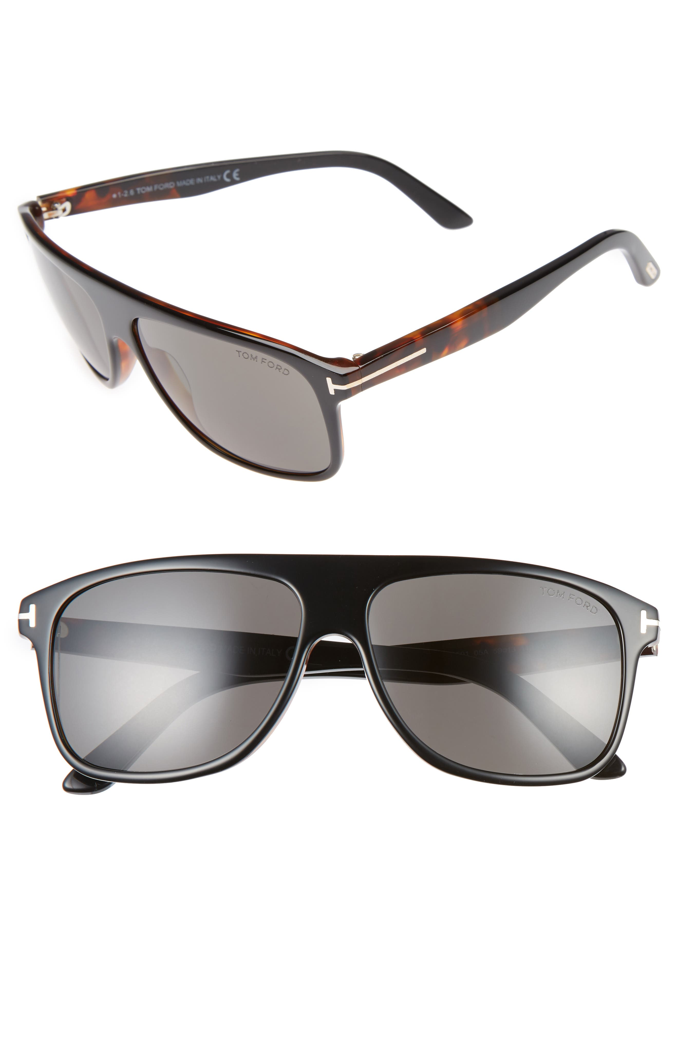 Inigo 59mm Flat Top Sunglasses,                         Main,                         color, Black/ Havana/ Smoke
