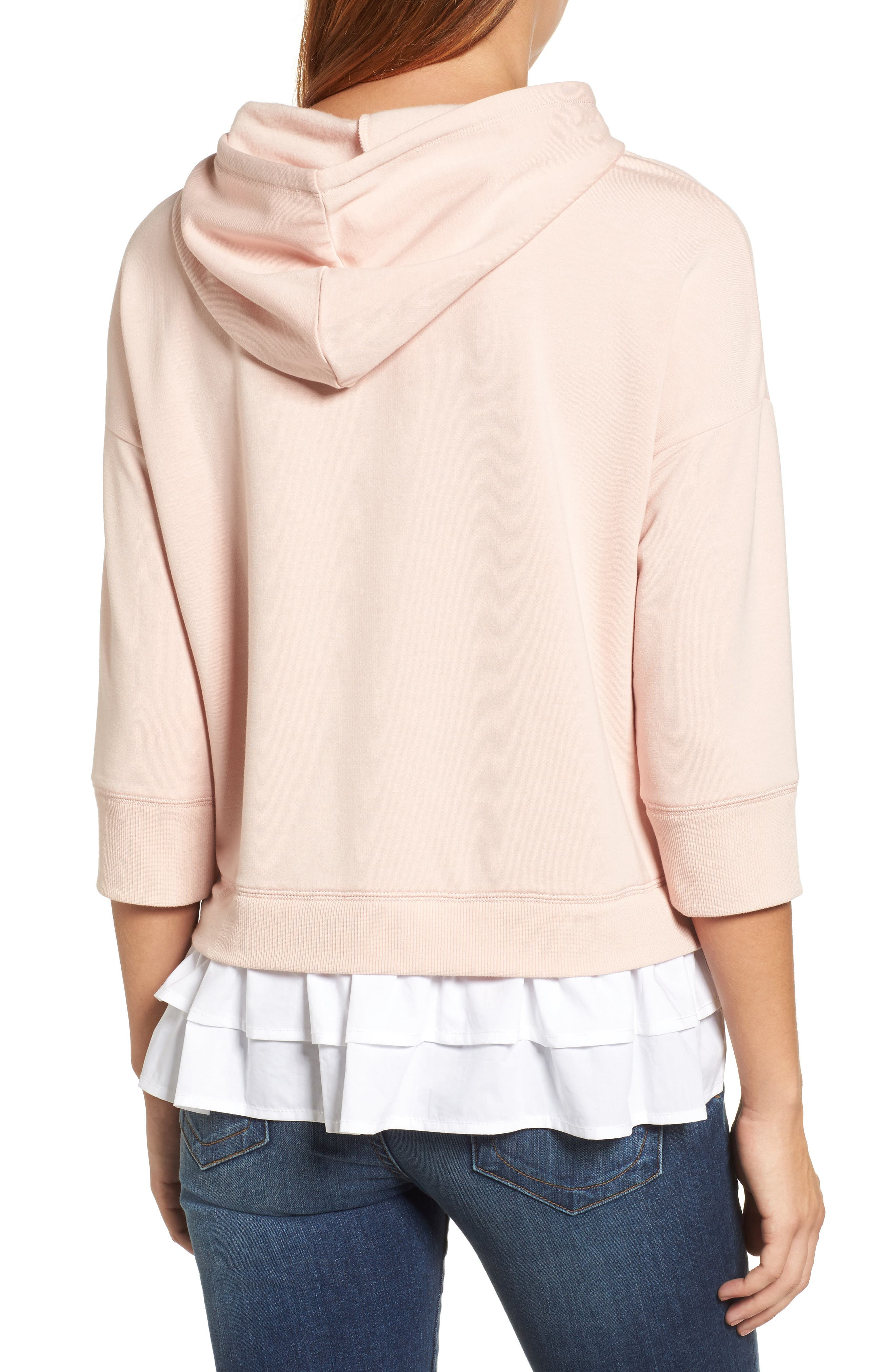 Alternate Image 3  - Caslon® Woven Inset Knit Hoodie (Regular & Petite)
