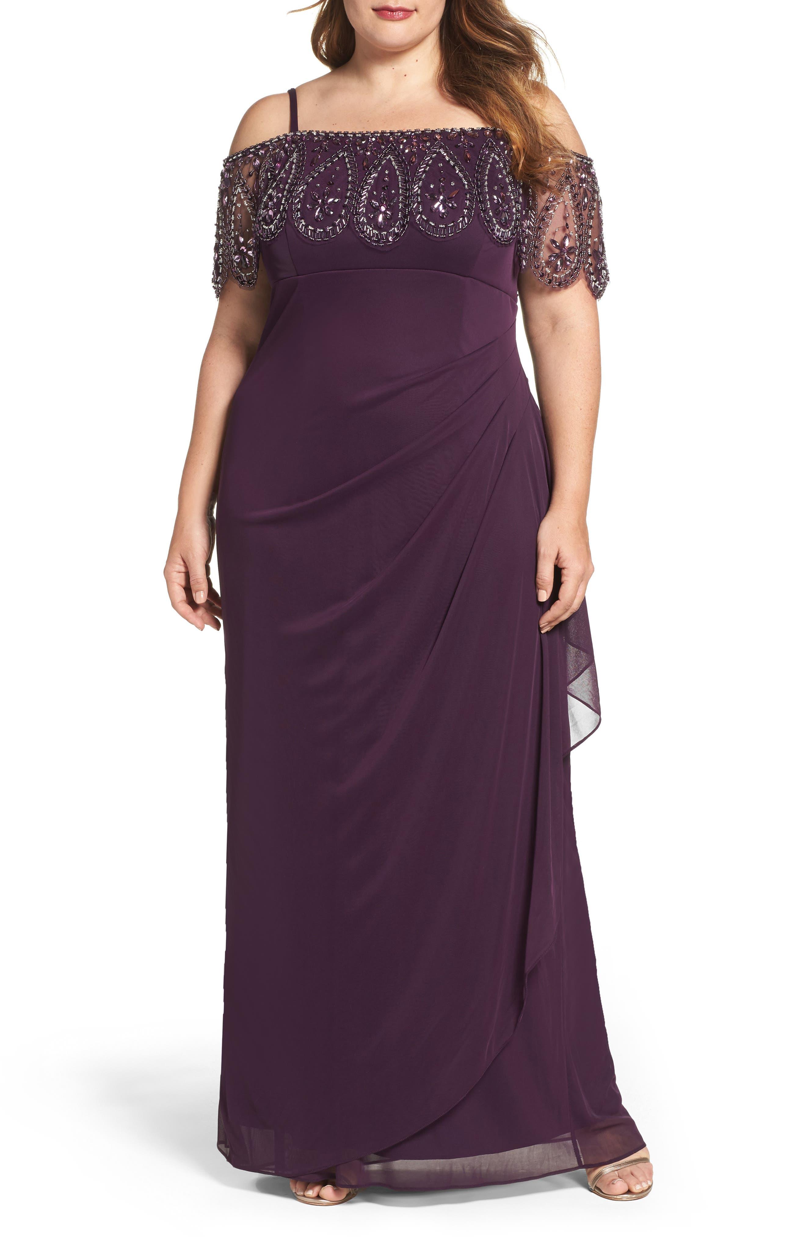 Beaded Cold Shoulder Gown,                         Main,                         color, Plum/ Plum