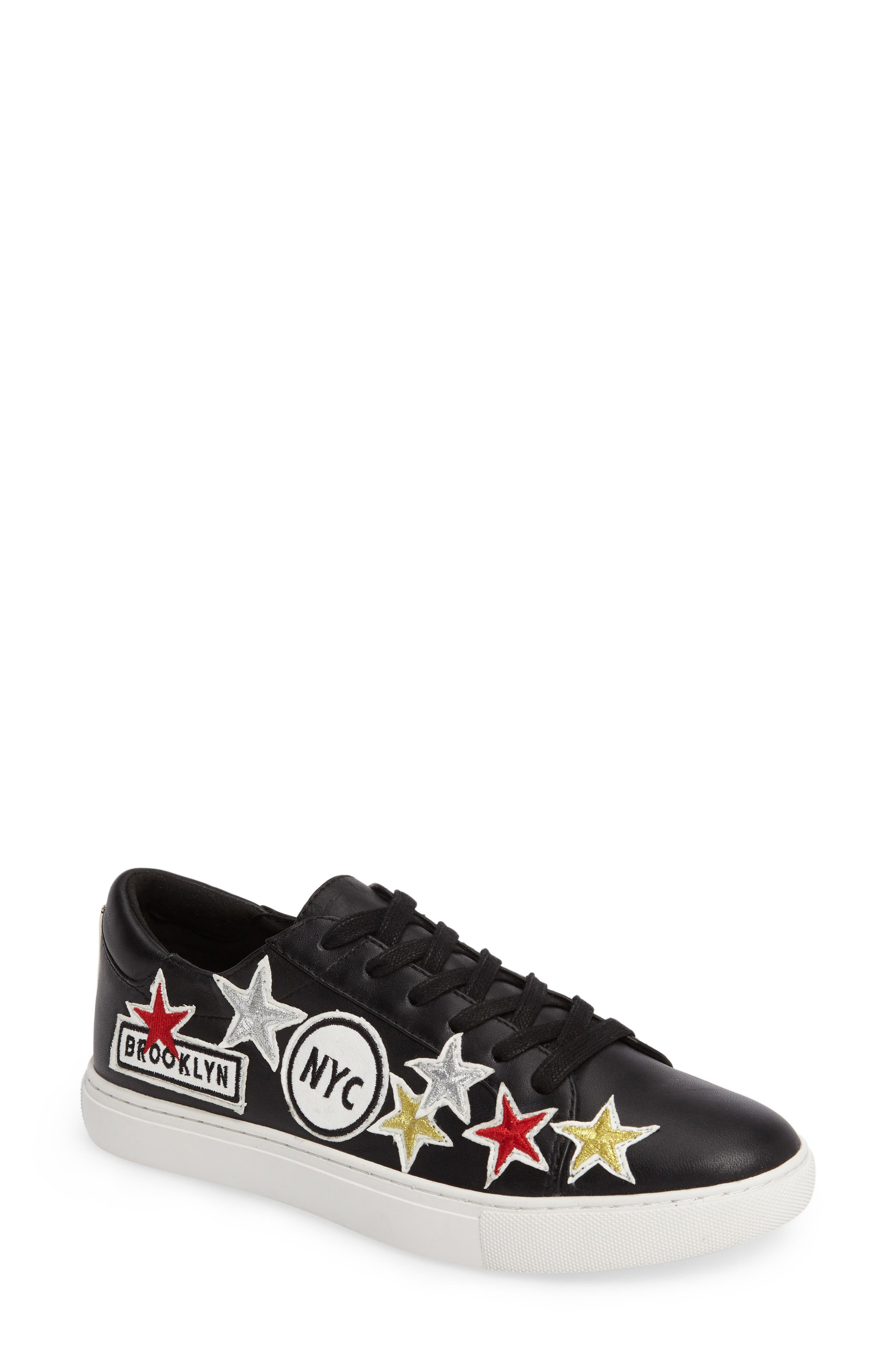 Kam NYC Sneaker,                         Main,                         color, Black Leather