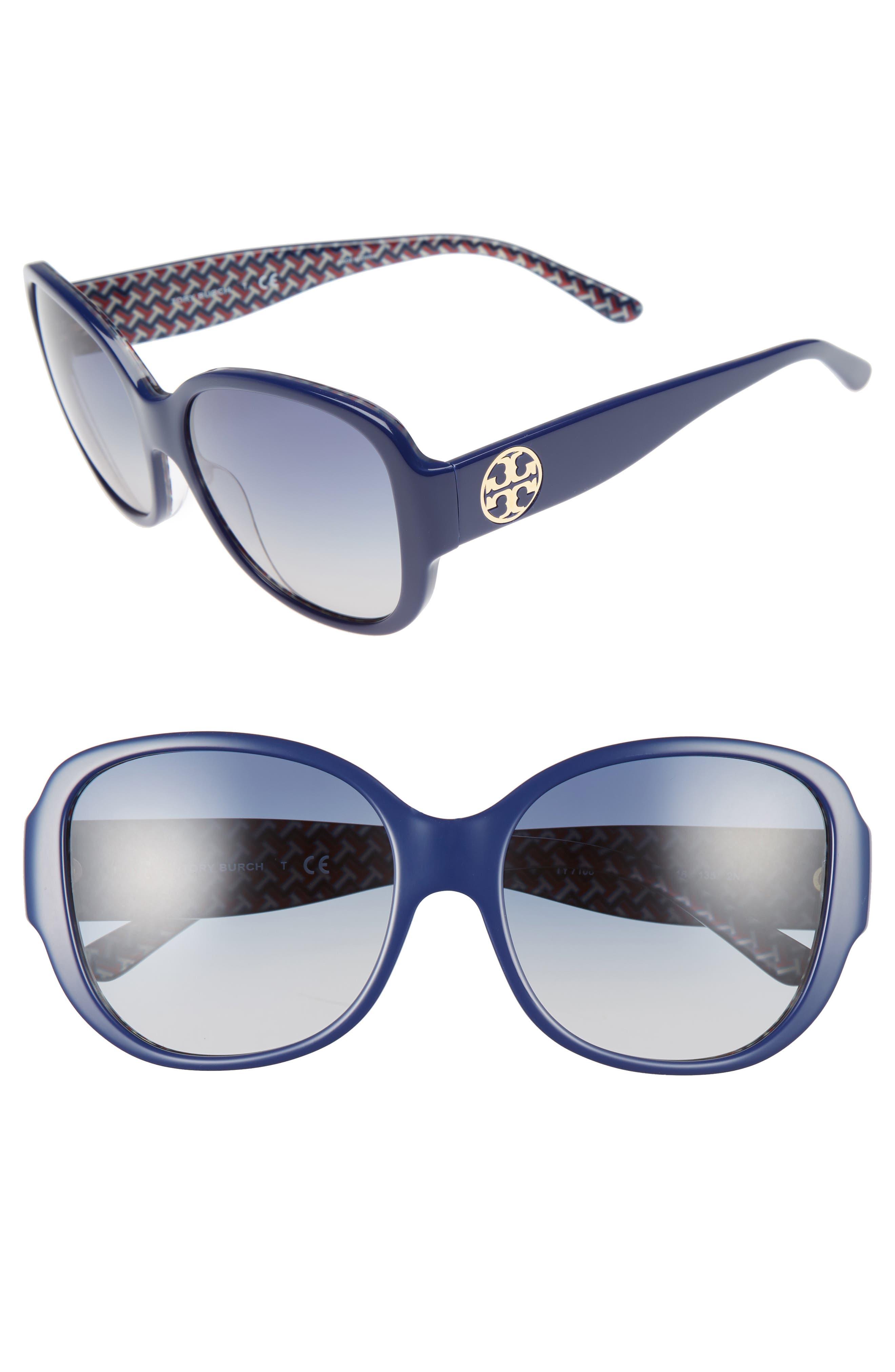 TORY BURCH 56mm Gradient Round Sunglasses