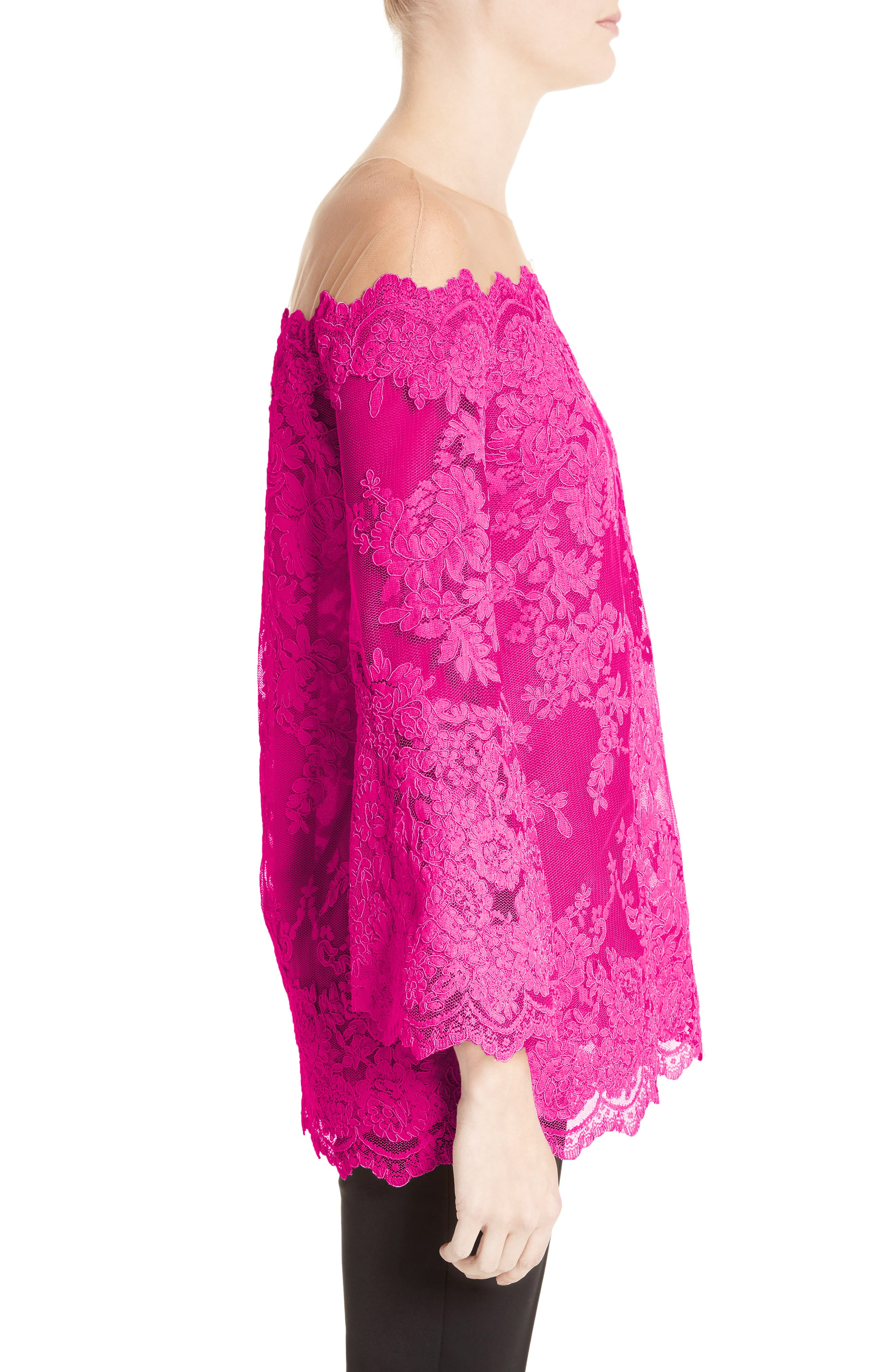 Off The Shoulder Illusion Lace Top,                             Alternate thumbnail 4, color,                             Fuchsia
