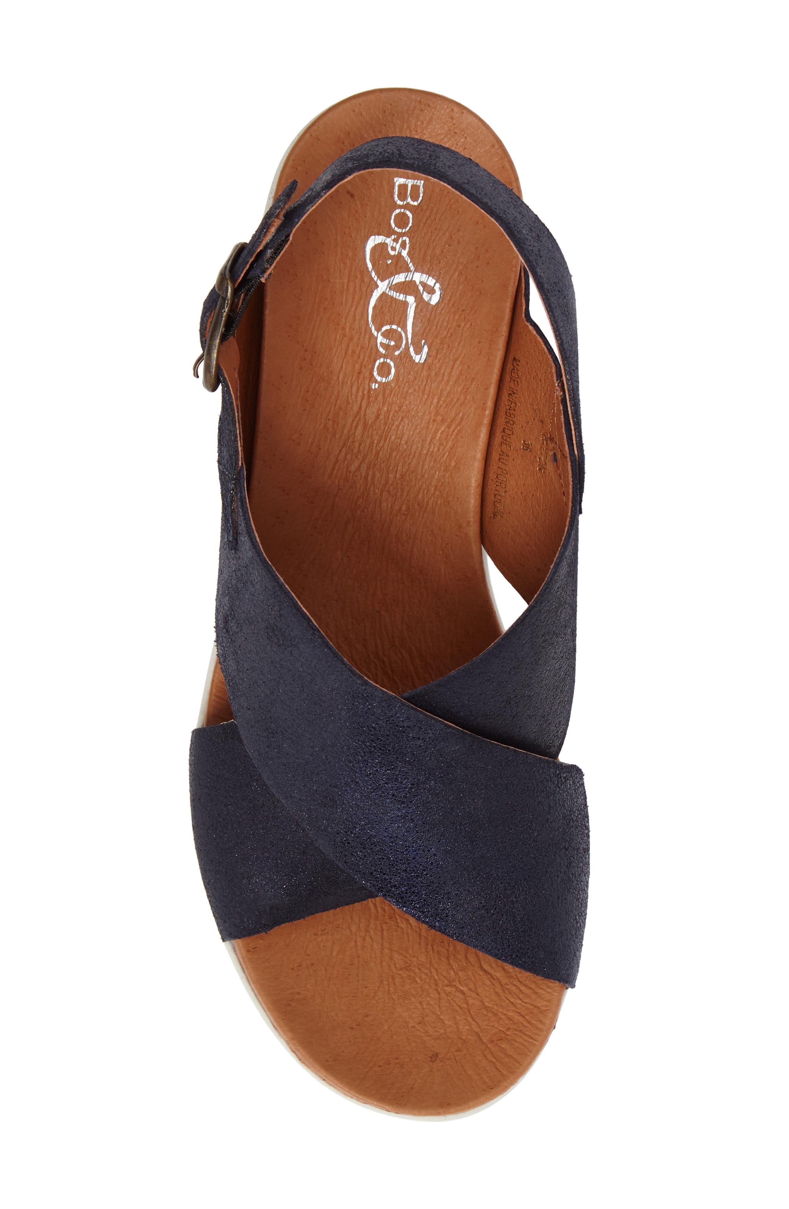 Payton Platform Wedge Sandal,                             Alternate thumbnail 5, color,                             Navy Glitter Suede