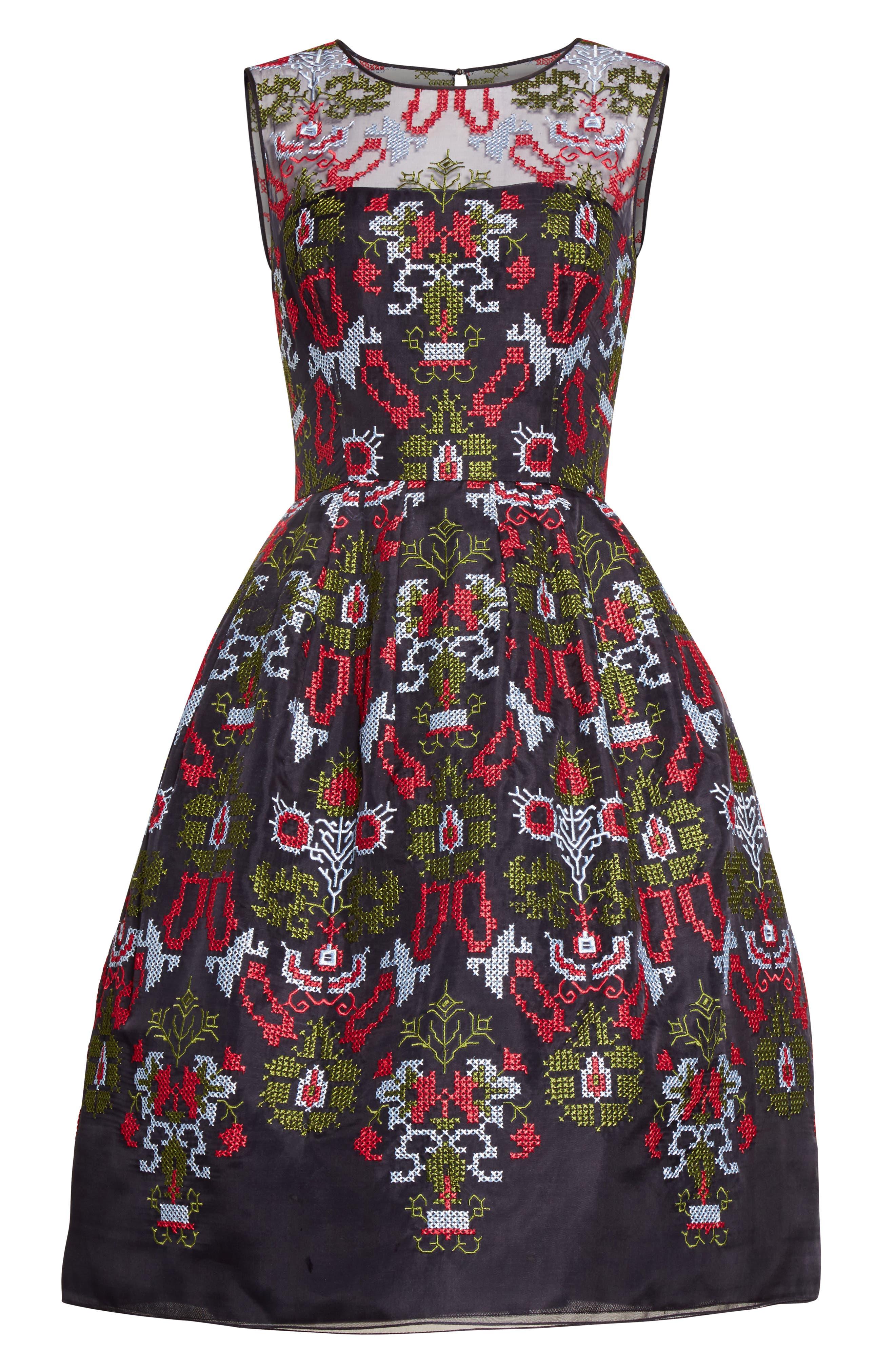 Alternate Image 4  - Oscar de la Renta Needlepoint Fit & Flare Dress