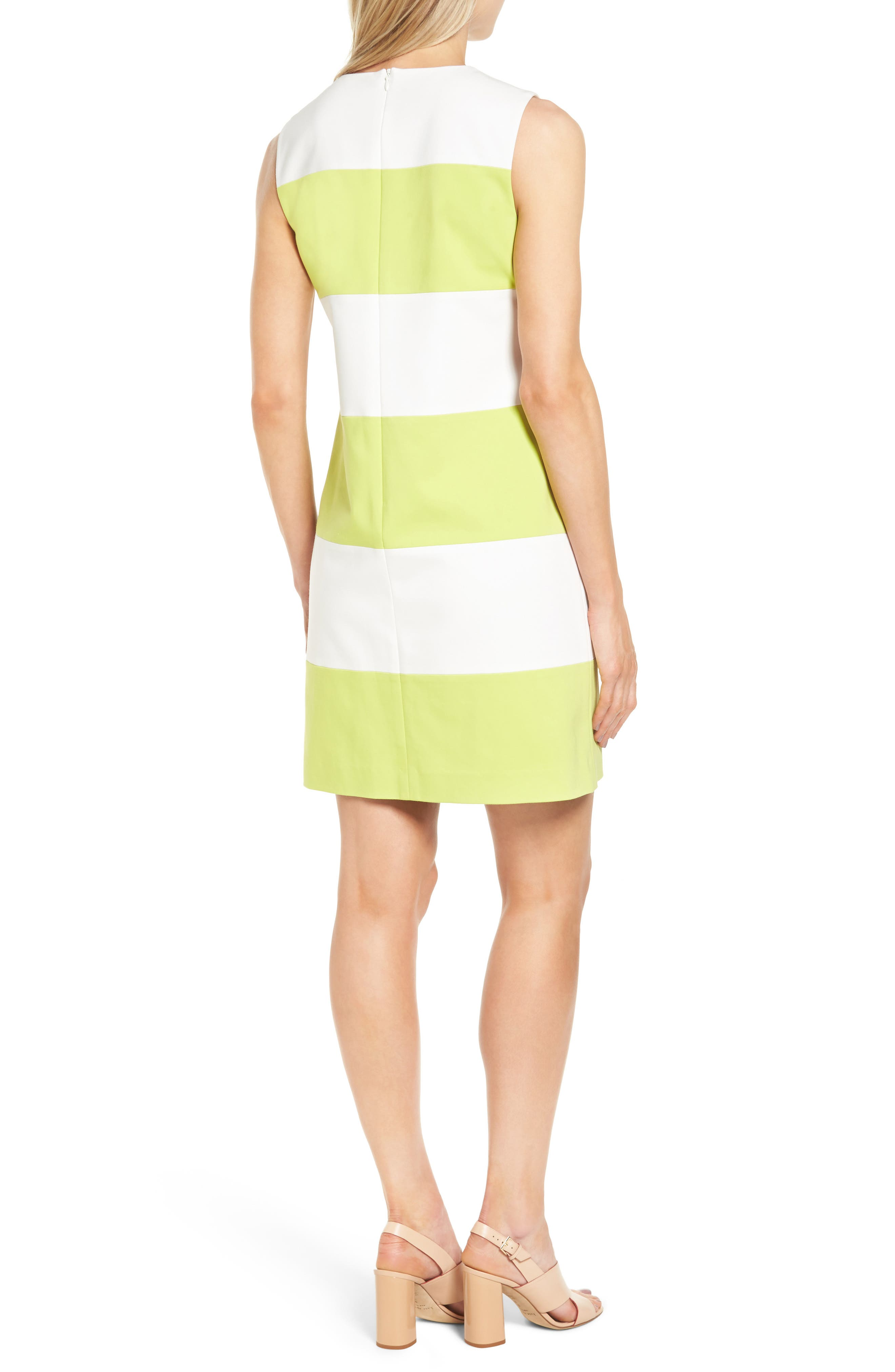 Colorblock Shift Dress,                             Alternate thumbnail 2, color,                             White/ Sprout