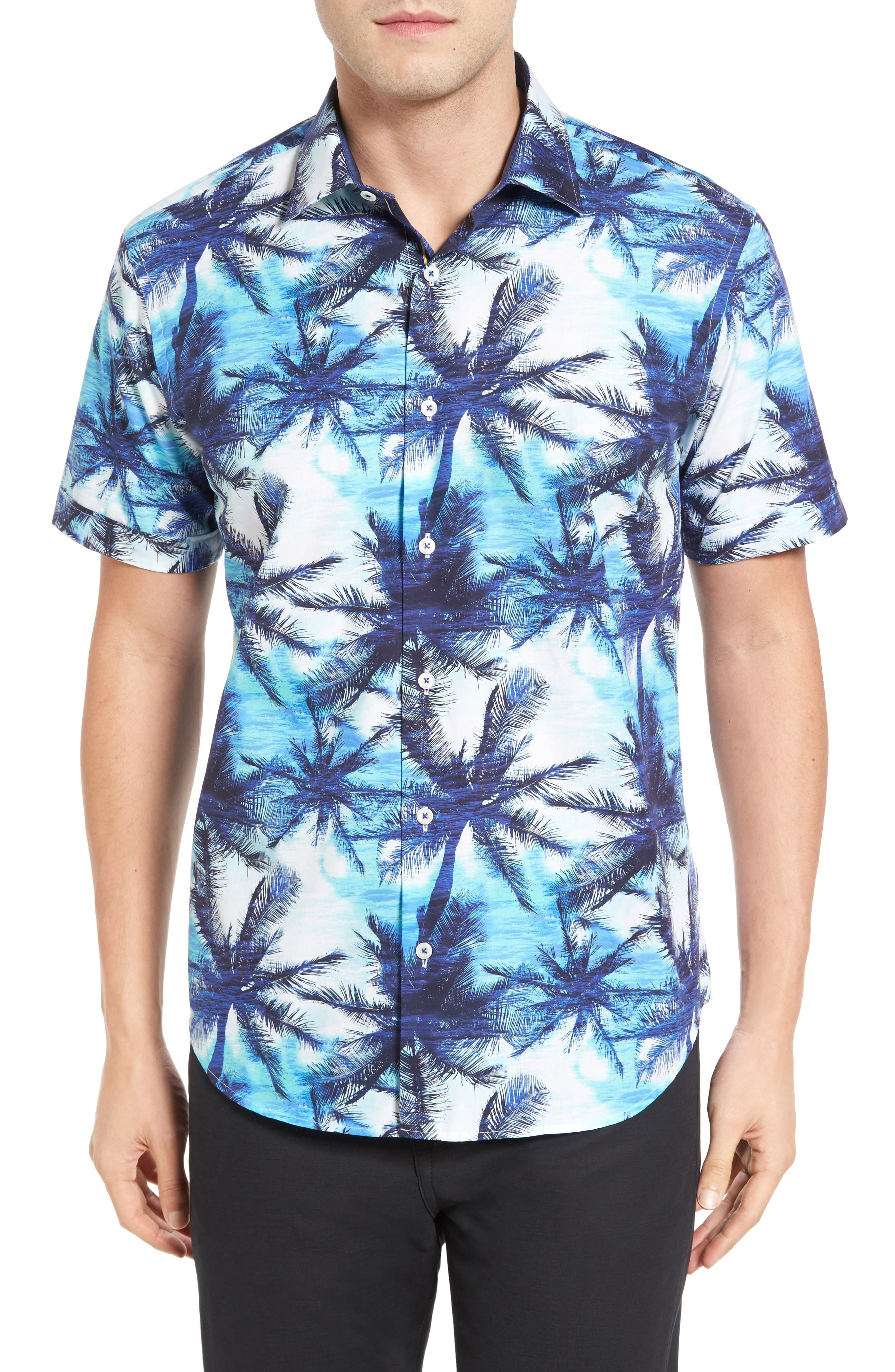 BUGATCHI Shaped Fit Tropical Print Short Sleeve Sport Shirt
