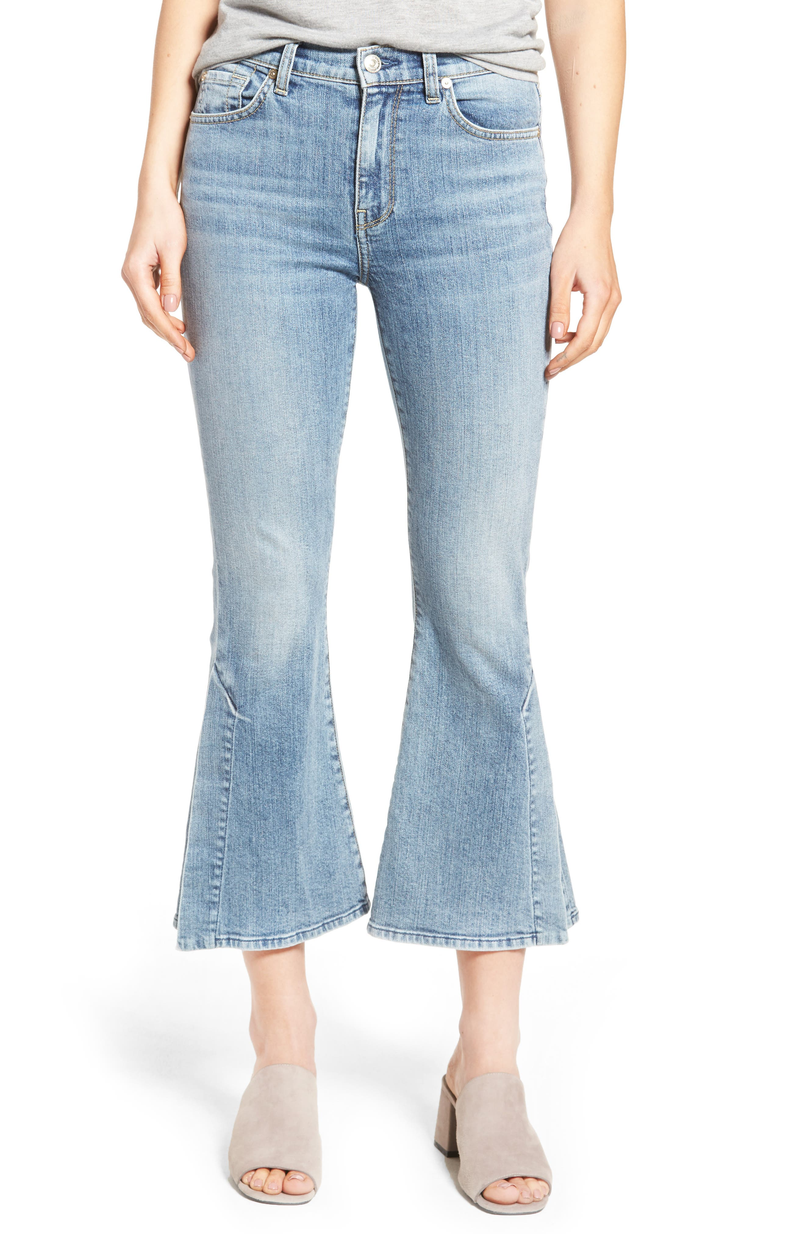 7 FOR ALL MANKIND<SUP>®</SUP> Ali Split Hem Crop Flare Jeans