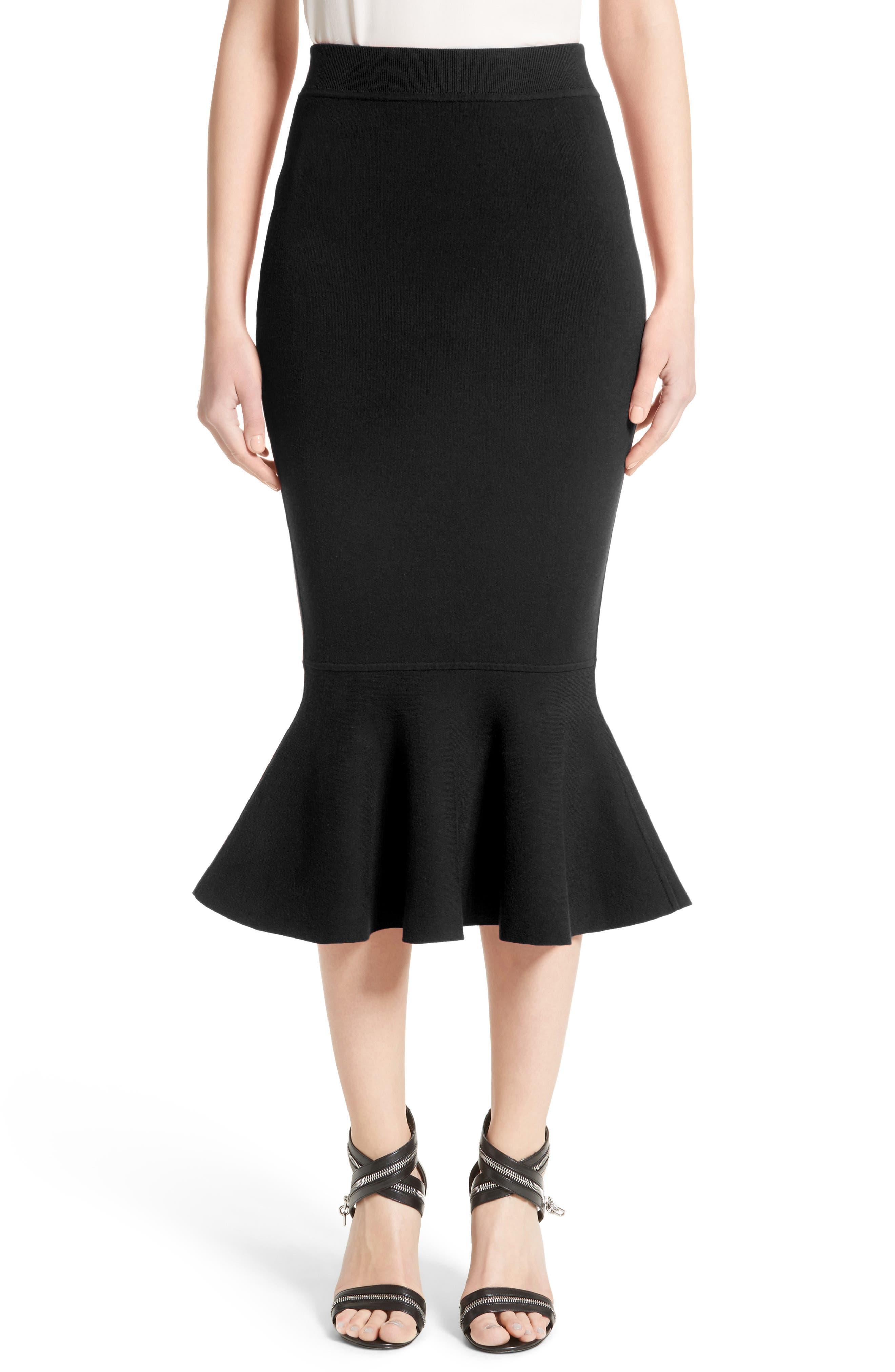 Stretch Knit Flounce Skirt,                         Main,                         color, Black