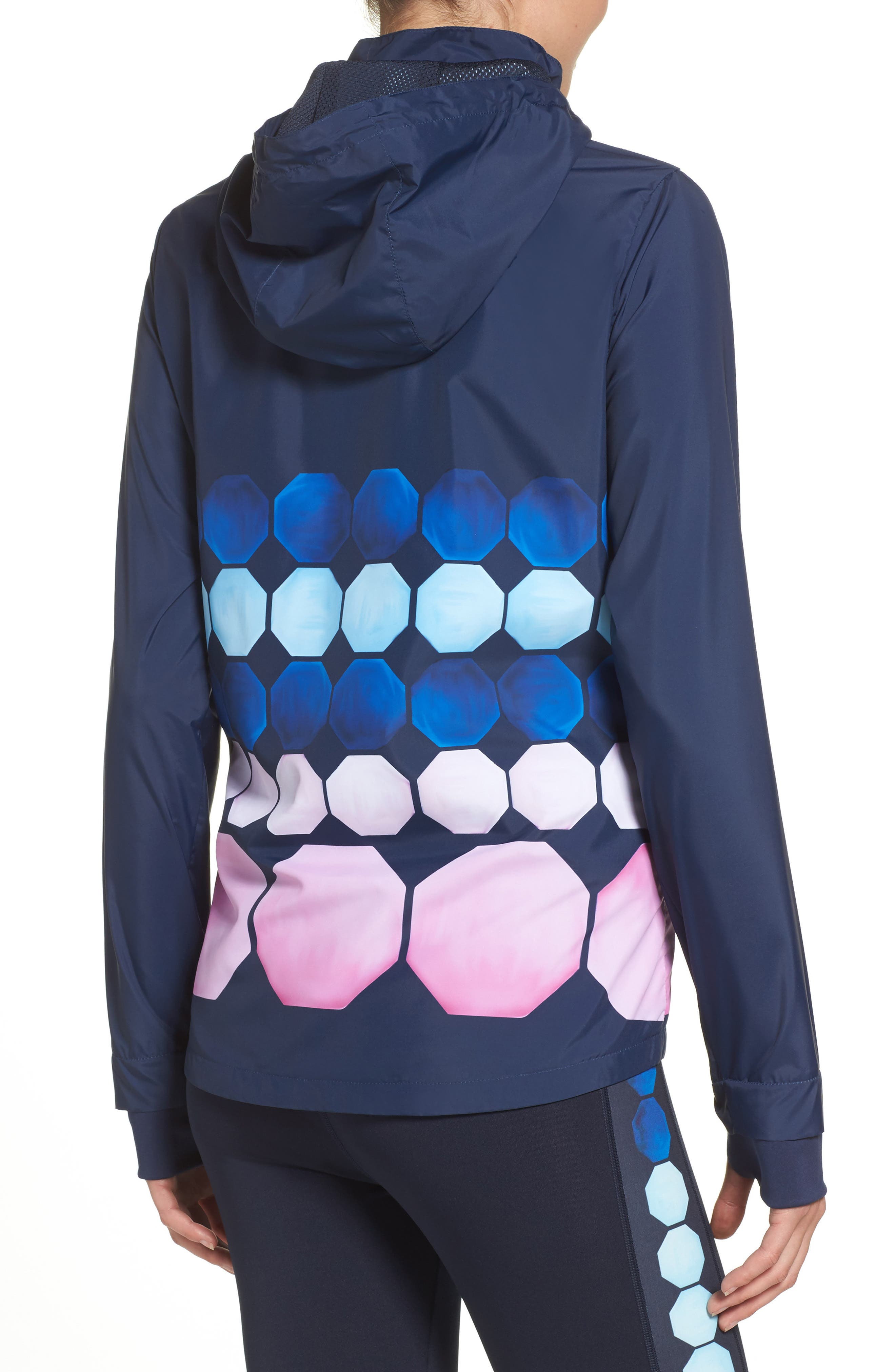 Marina Mosaic Hooded Jacket,                             Alternate thumbnail 2, color,                             Navy