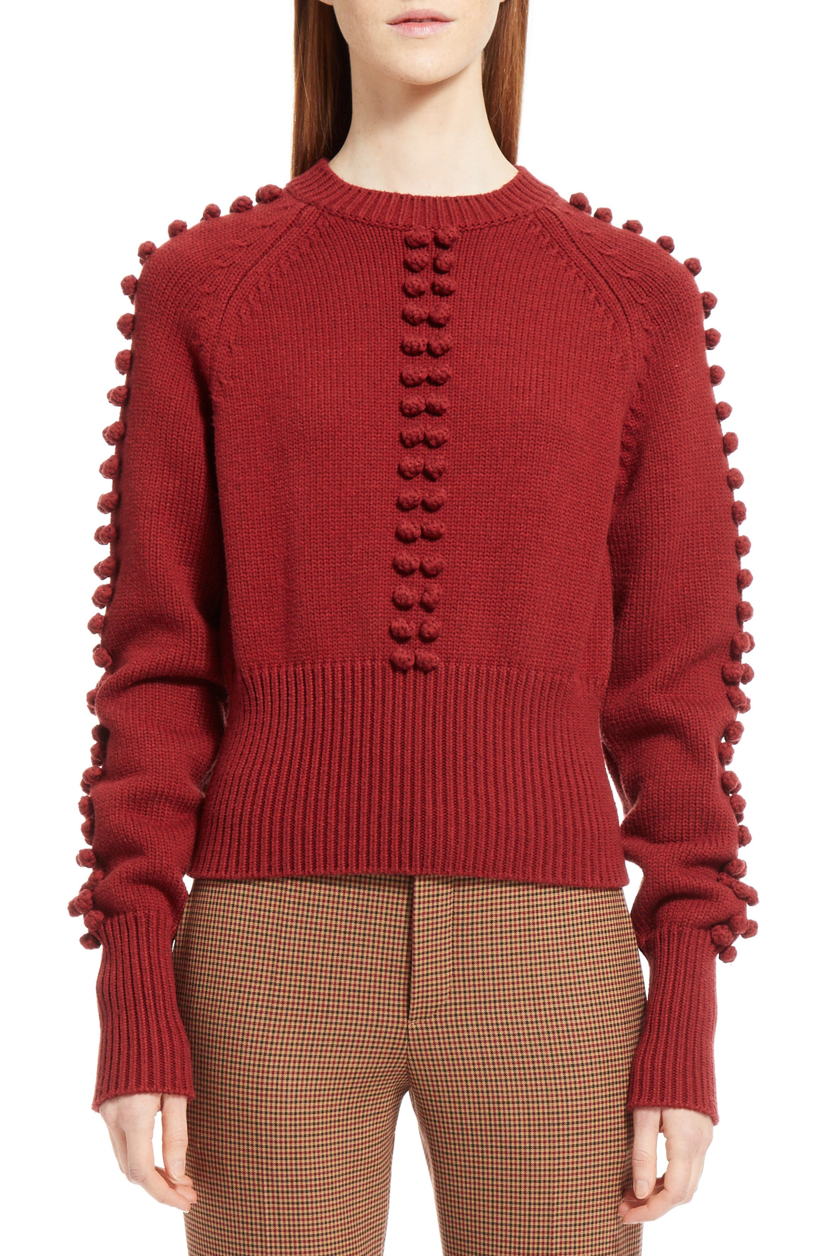 Bobble Knit Sweater,                             Main thumbnail 1, color,                             Ginger Red