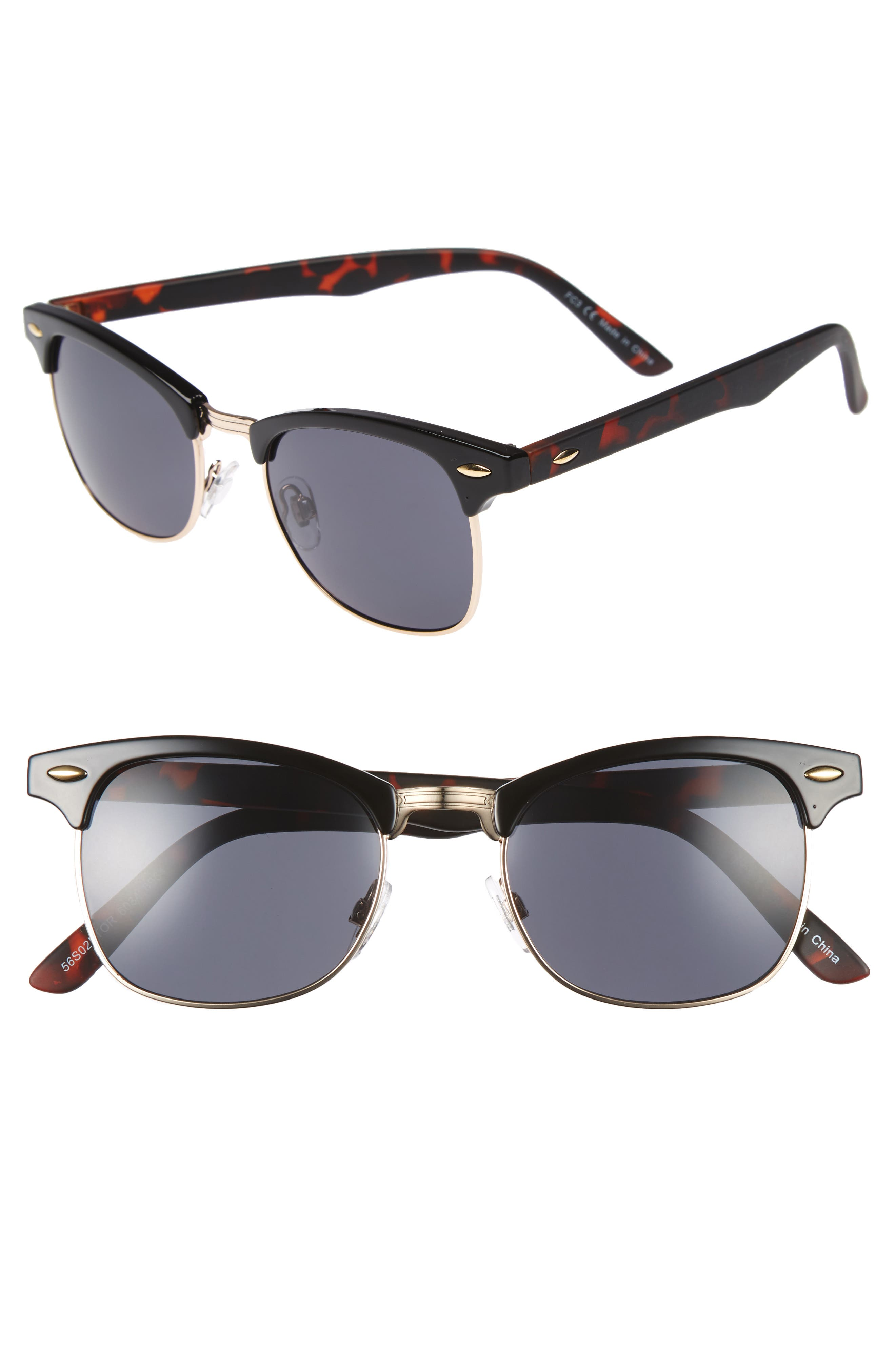 TOPMAN Clubmaster 50mm Sunglasses