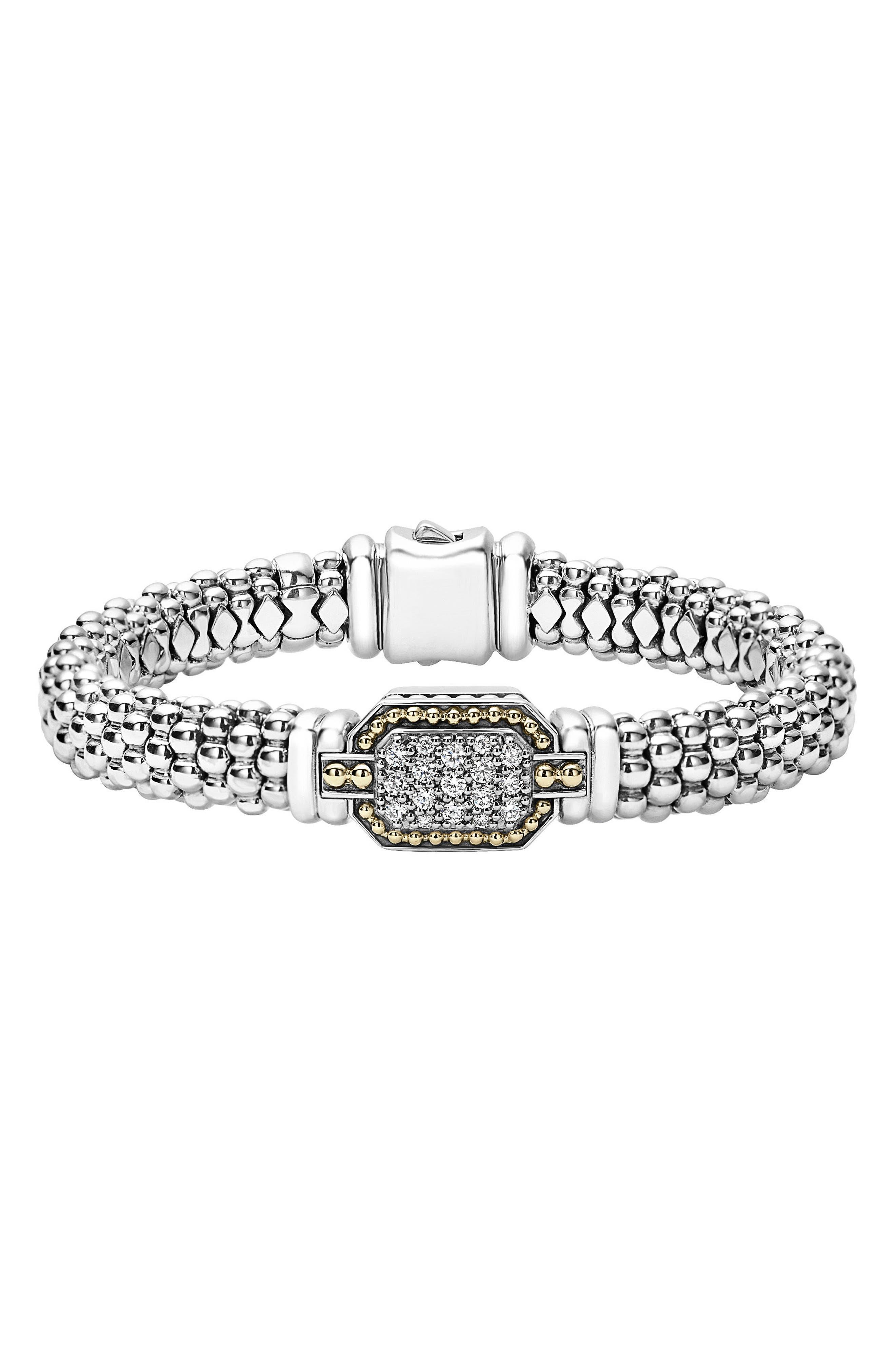 Diamonds & Caviar Large Diamond Bracelet,                             Main thumbnail 1, color,                             Silver