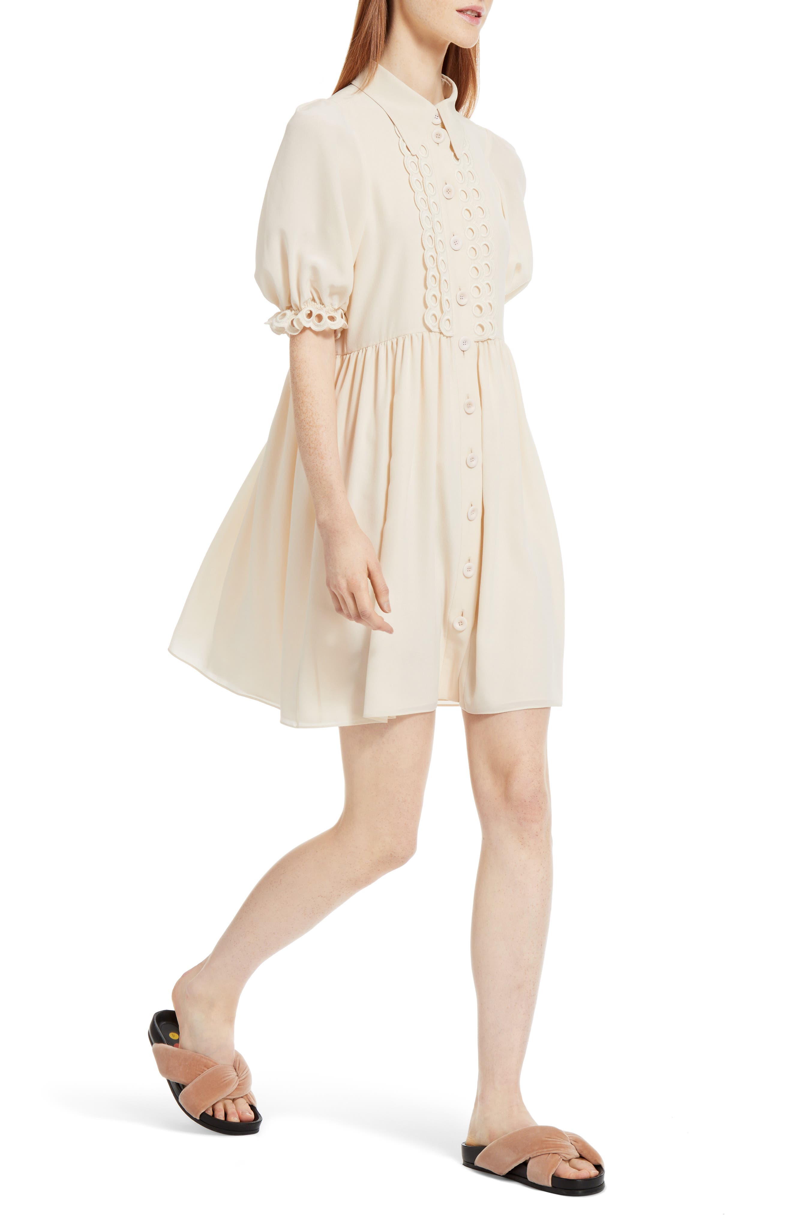 Alternate Image 6  - Chloé Eyelet Silk Shirtdress