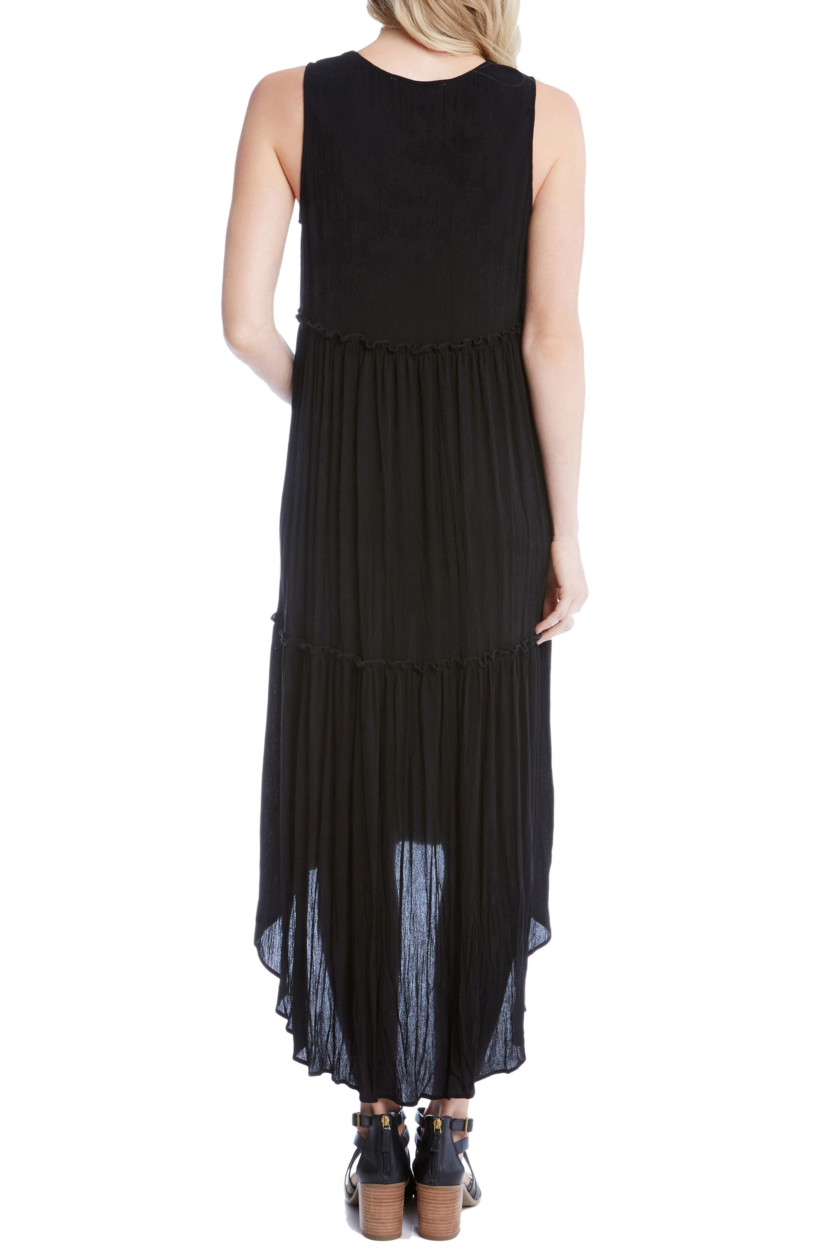 Lace-Up Tiered High/Low Dress,                             Alternate thumbnail 2, color,                             Black