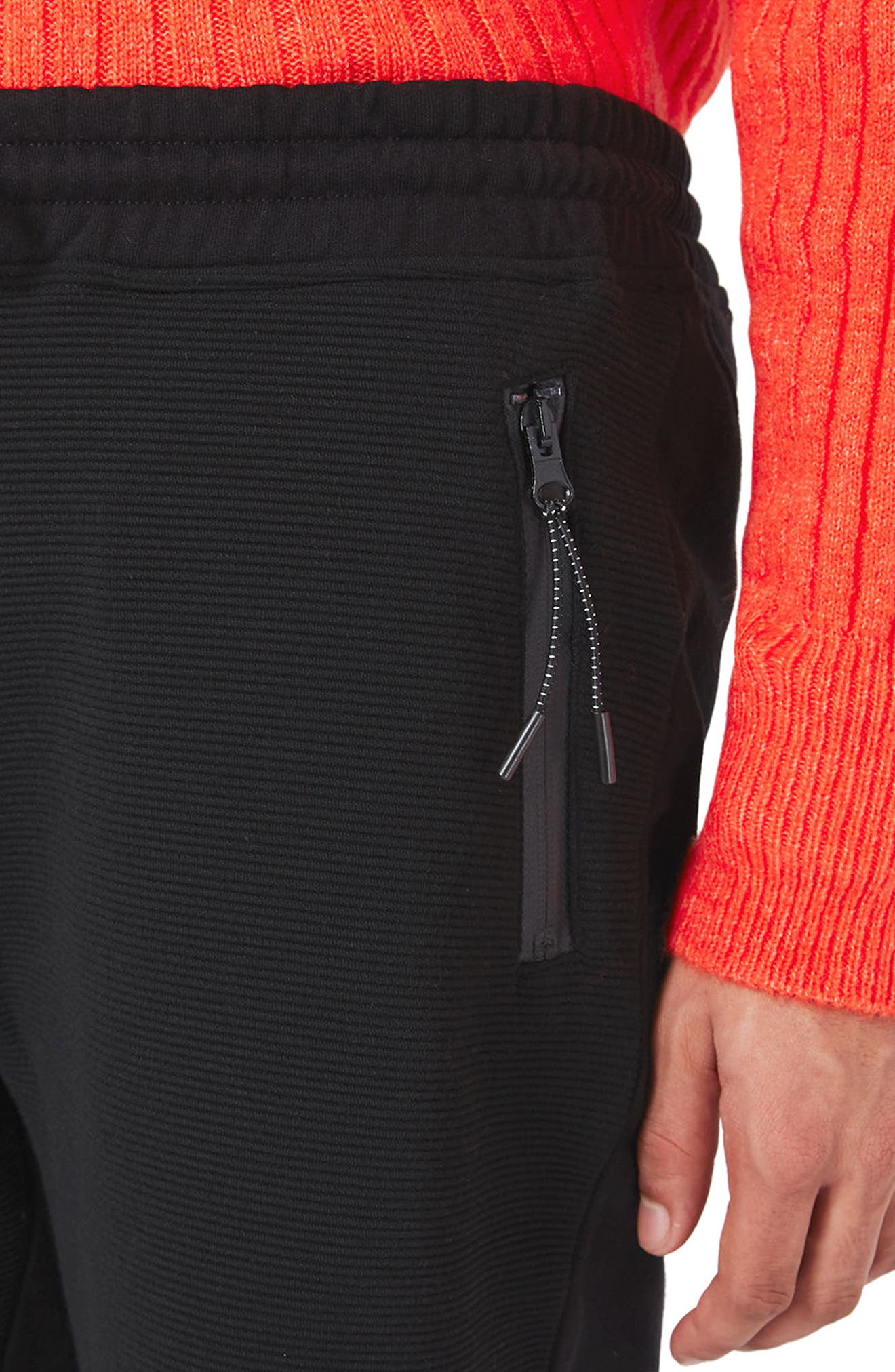 Textured Jersey Shorts,                             Alternate thumbnail 4, color,                             Black