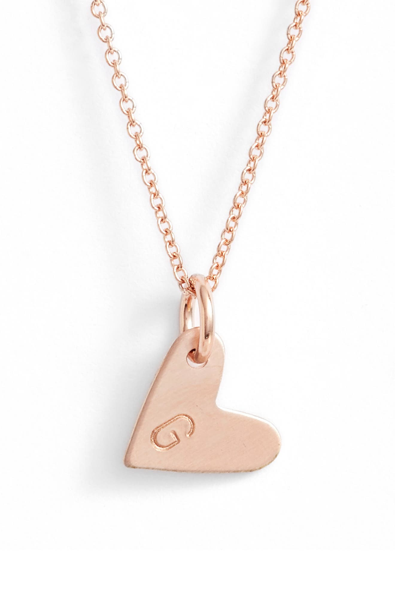 Initial Heart Pendant Necklace,                             Main thumbnail 1, color,                             Rose Gold/ G