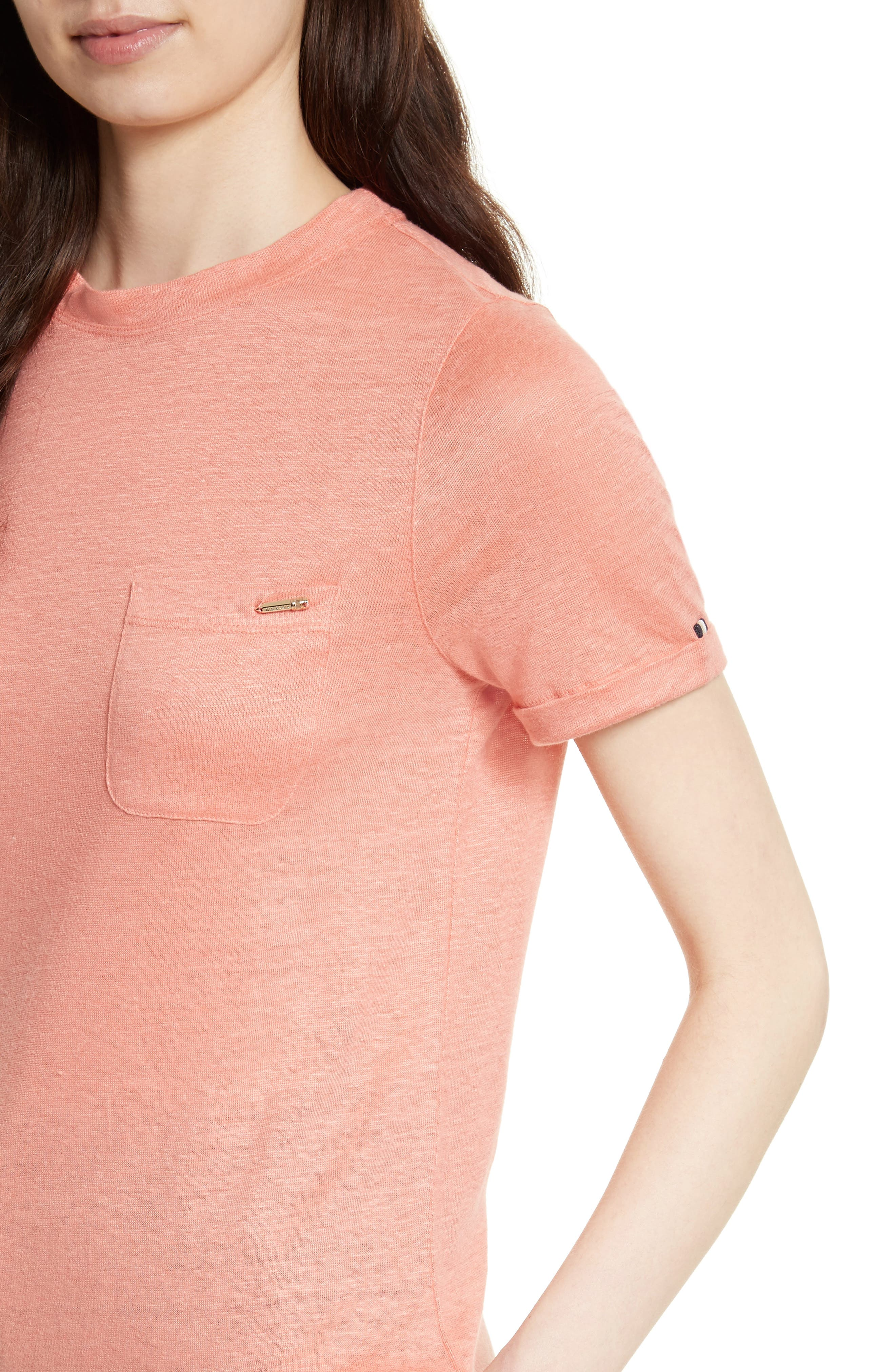 Harlaa Square Cut Linen Tee,                             Alternate thumbnail 4, color,                             Coral