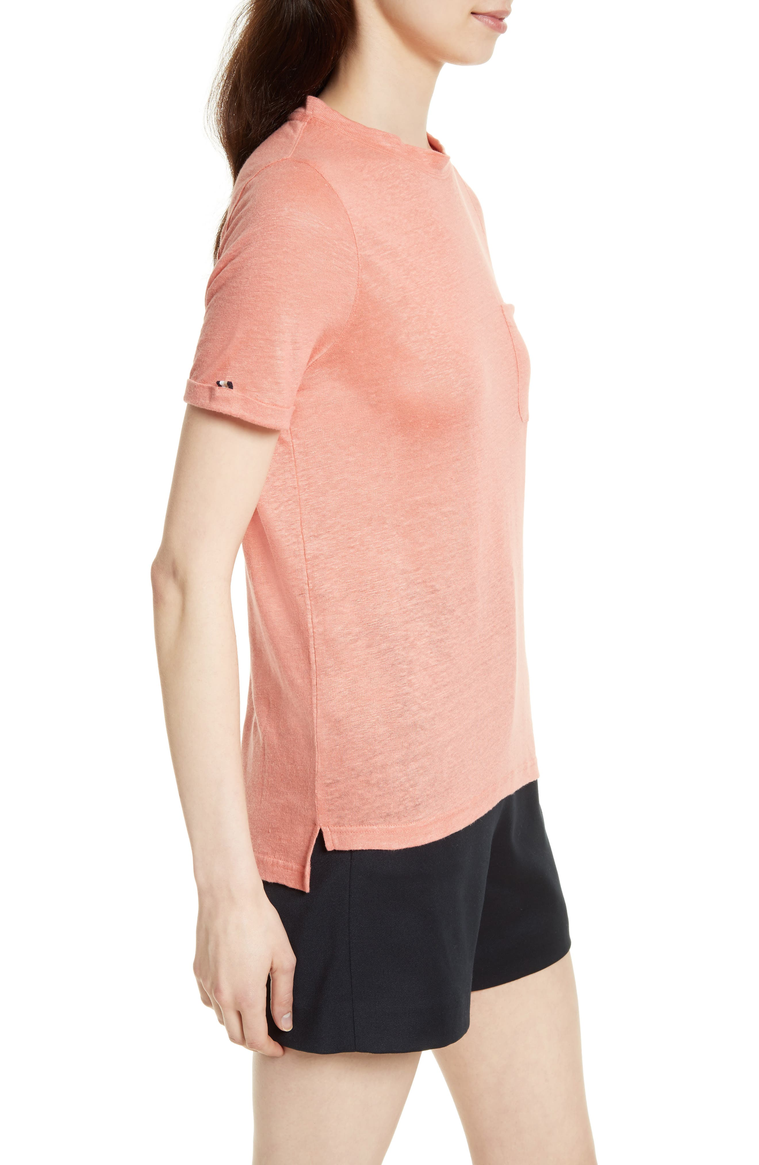 Harlaa Square Cut Linen Tee,                             Alternate thumbnail 3, color,                             Coral