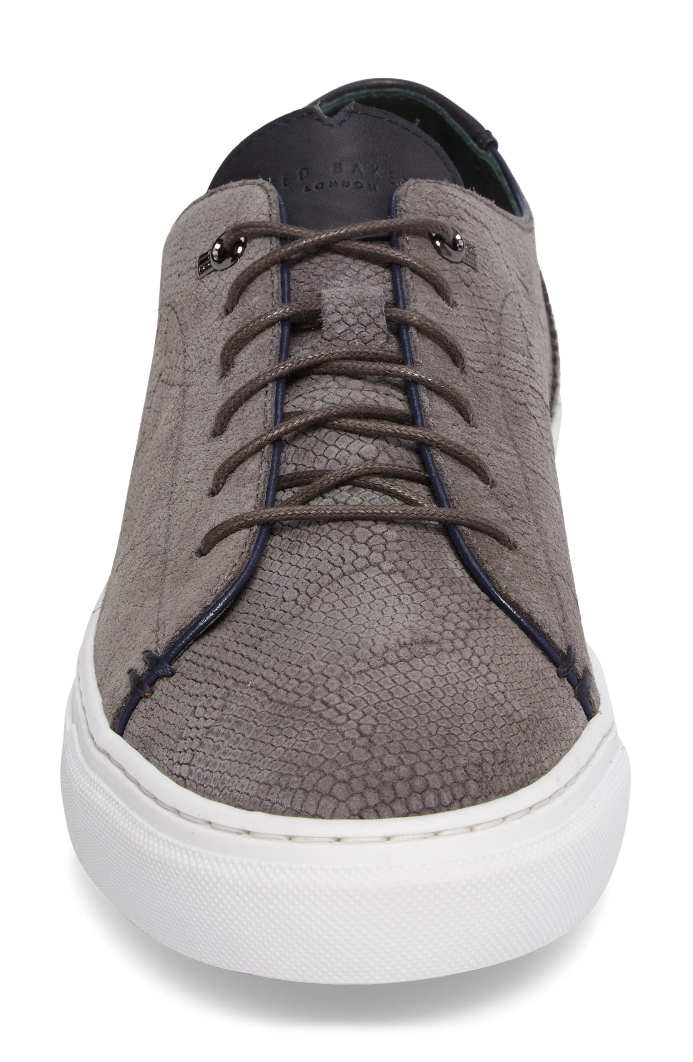 Duke Snake Embossed Sneaker,                             Alternate thumbnail 4, color,                             Dark Grey Suede