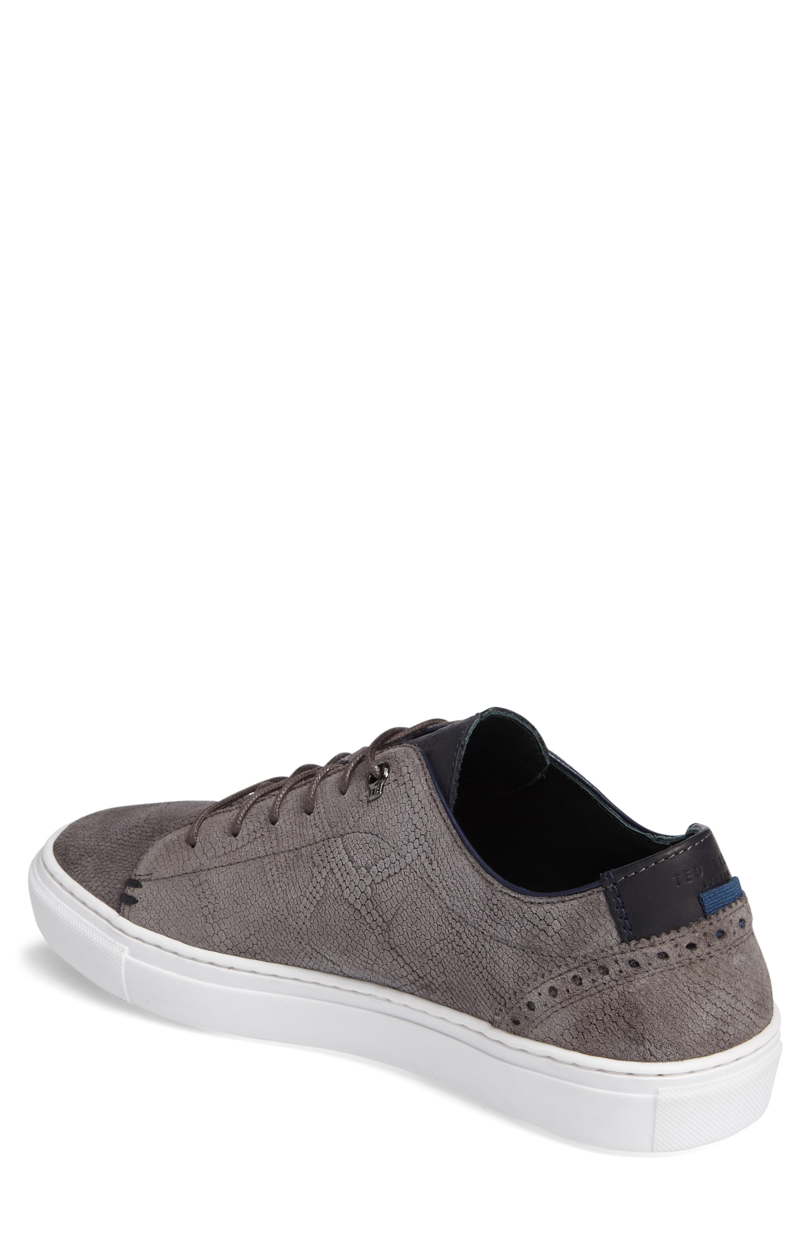 Duke Snake Embossed Sneaker,                             Alternate thumbnail 2, color,                             Dark Grey Suede