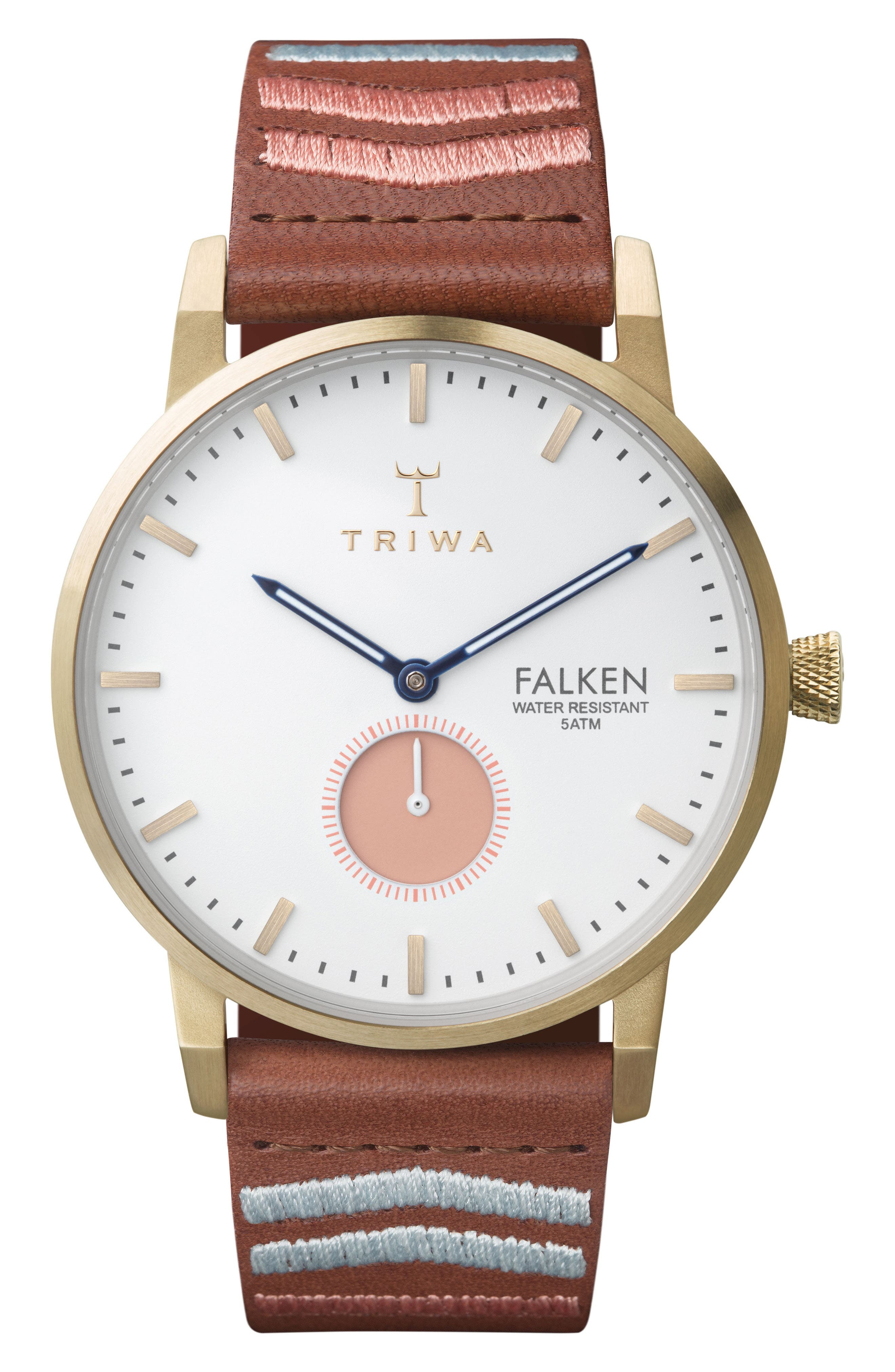 TRIWA Falken Embroidered Leather Strap Watch, 38mm
