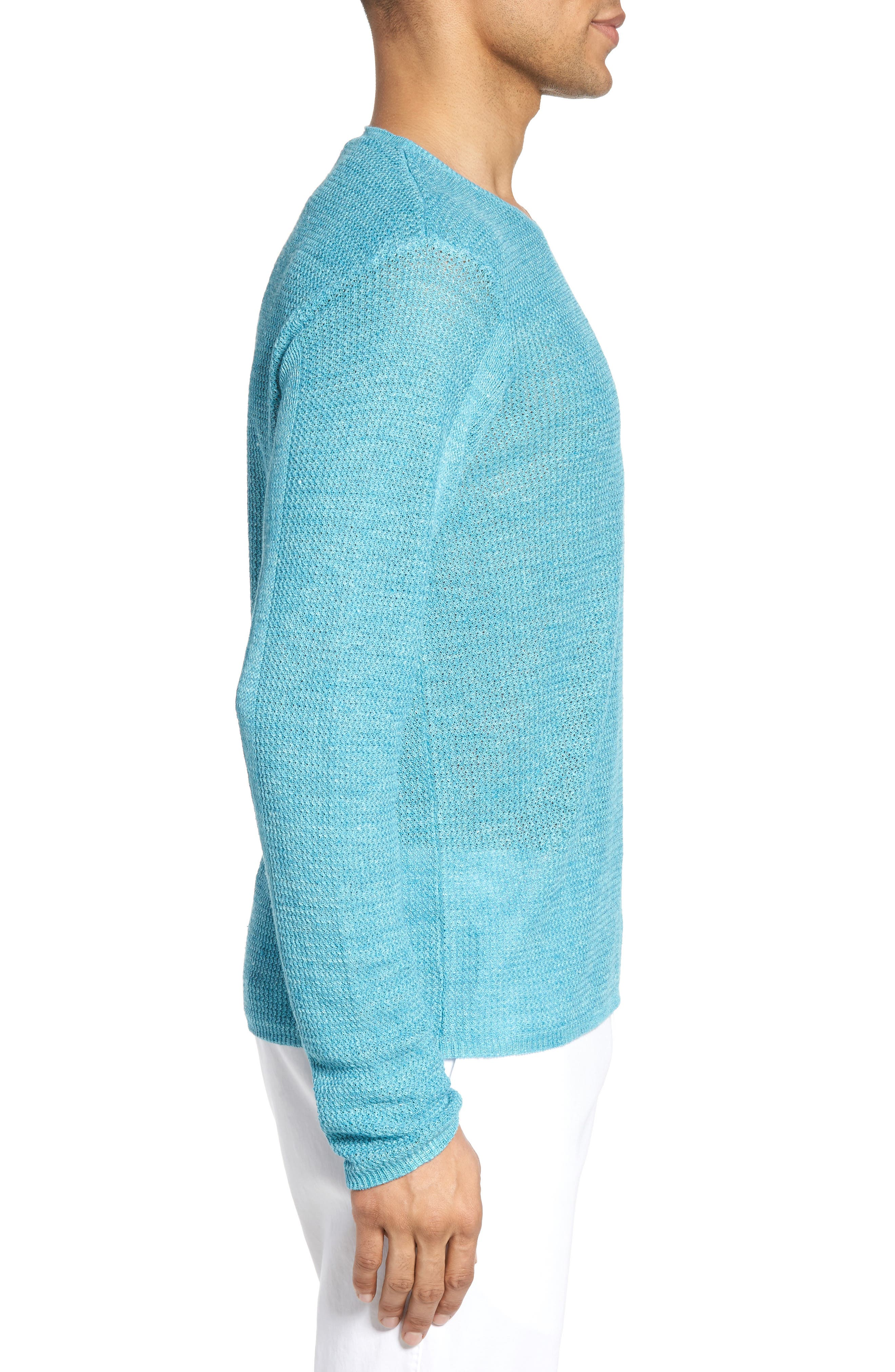 Chapman Linen Sweater,                             Alternate thumbnail 3, color,                             Aqua