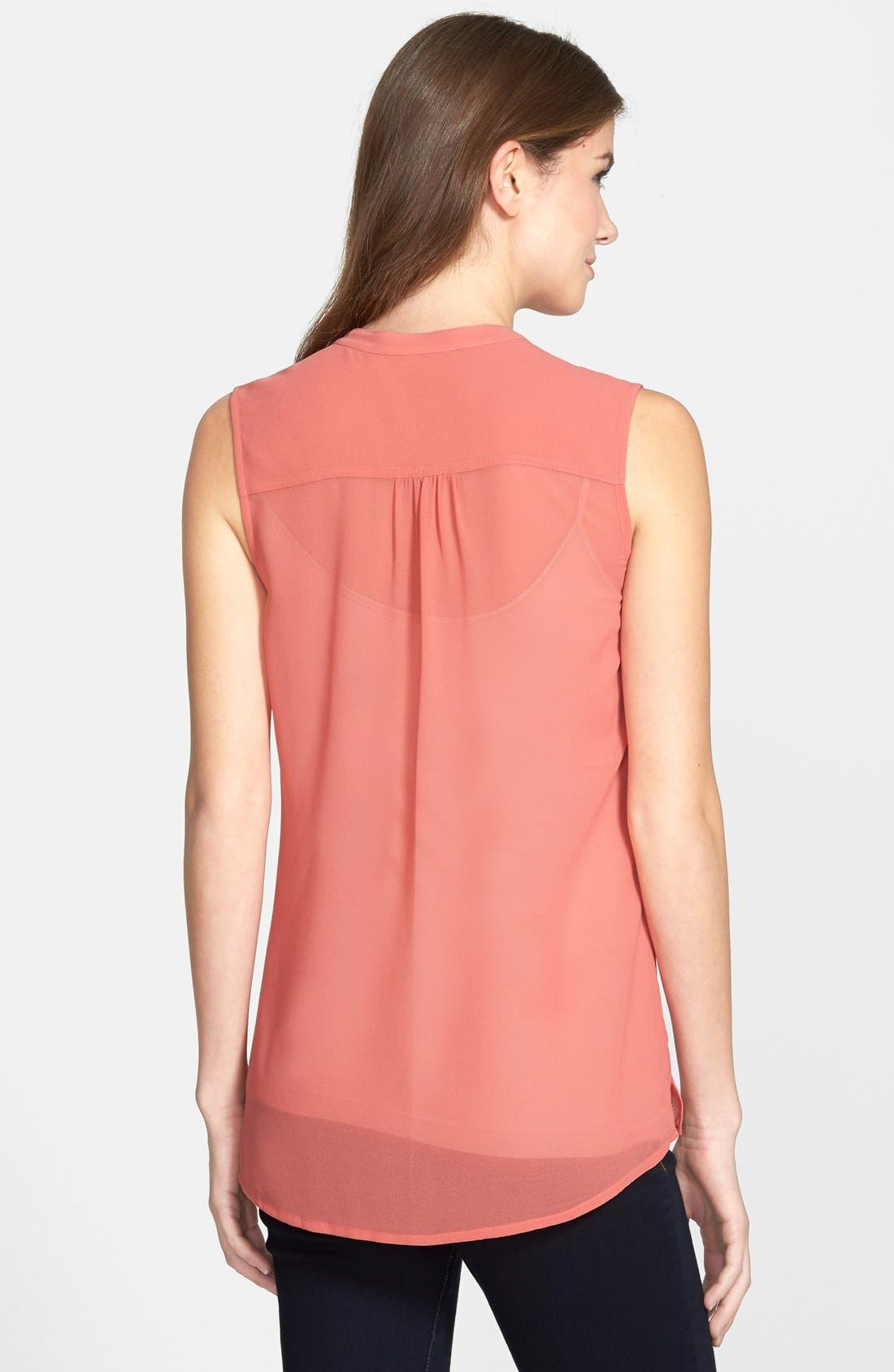 Alternate Image 3  - Caslon® Split Neck Sleeveless Blouse (Regular & Petite)
