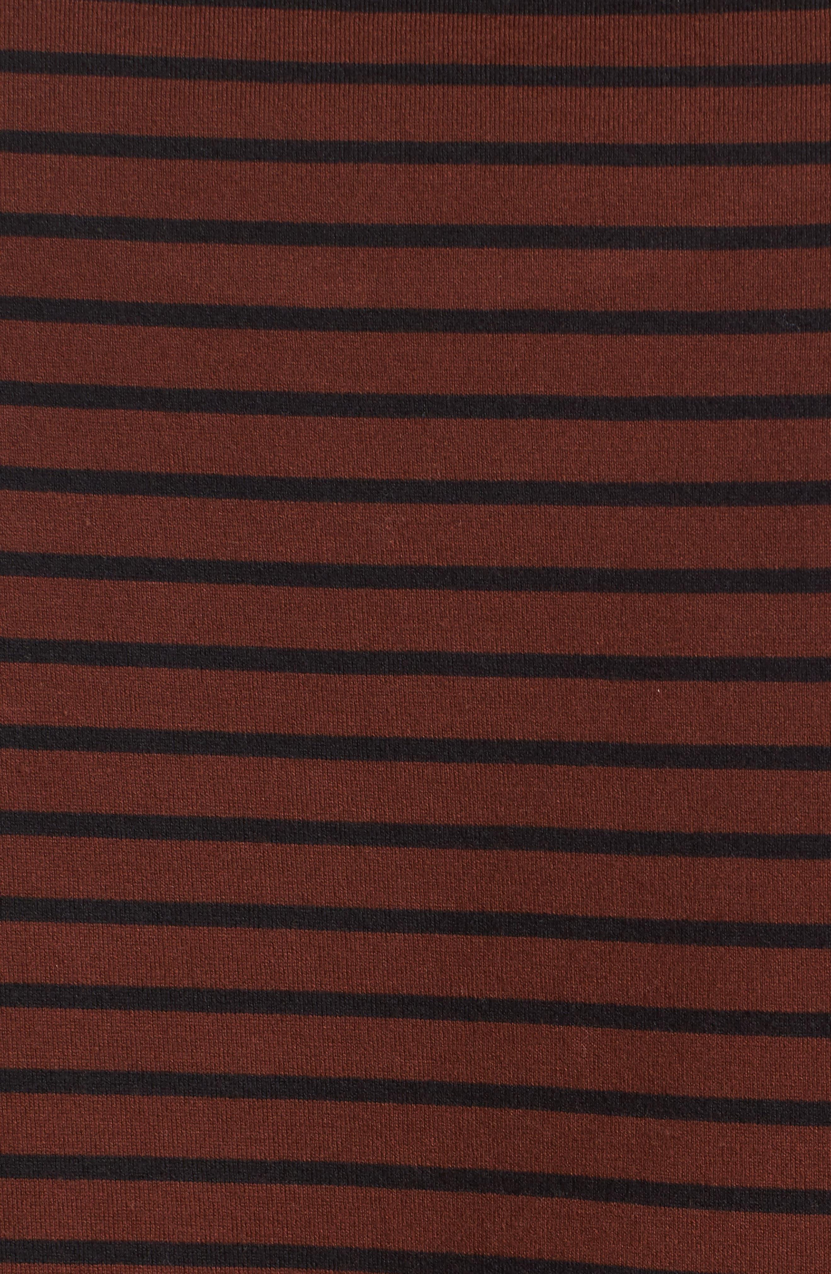 Narrow Stripe Pima Cotton T-Shirt,                             Alternate thumbnail 5, color,                             Sienna/ Black