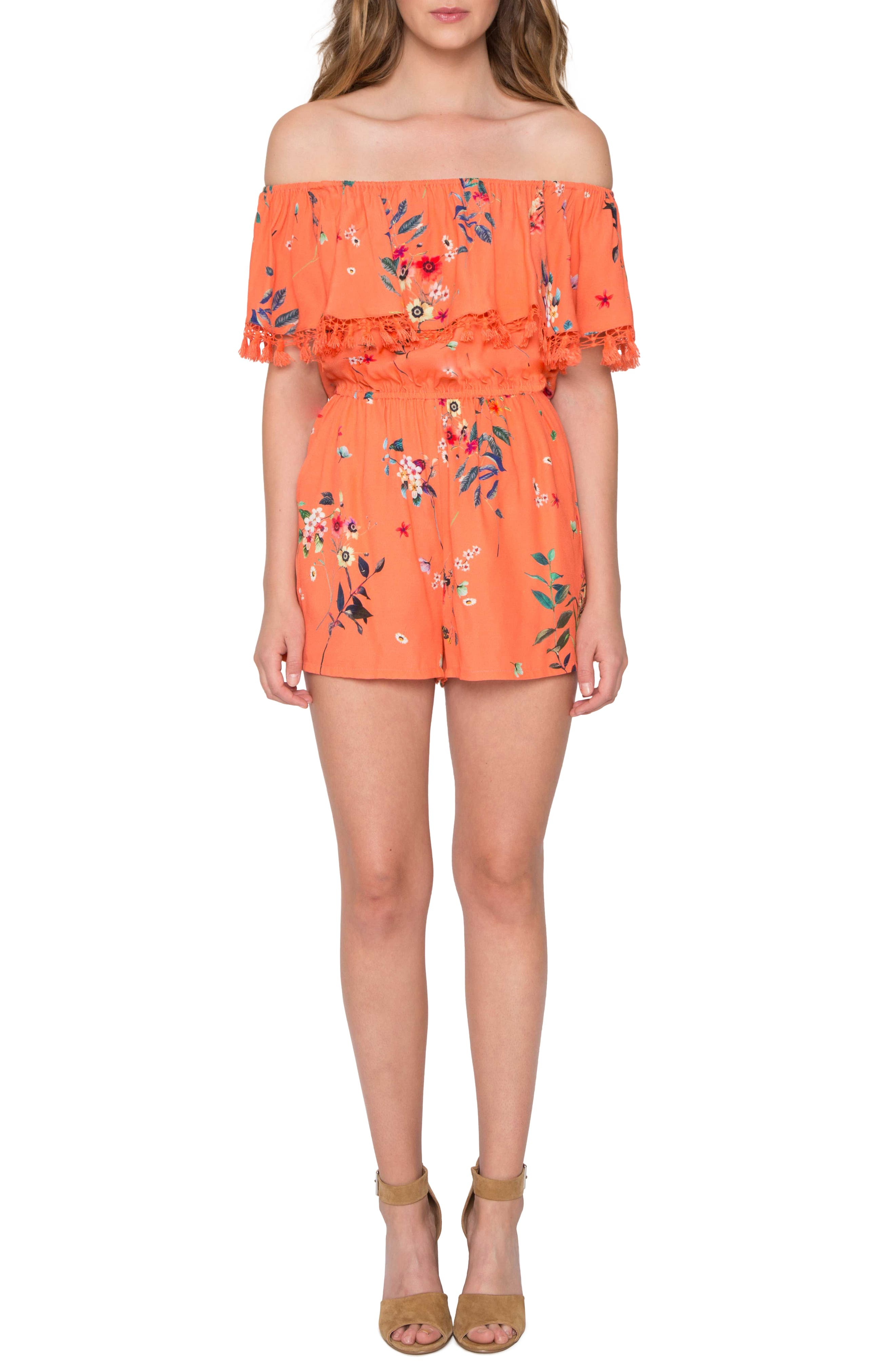 Main Image - Willow & Clay Off the Shoulder Ruffle Romper