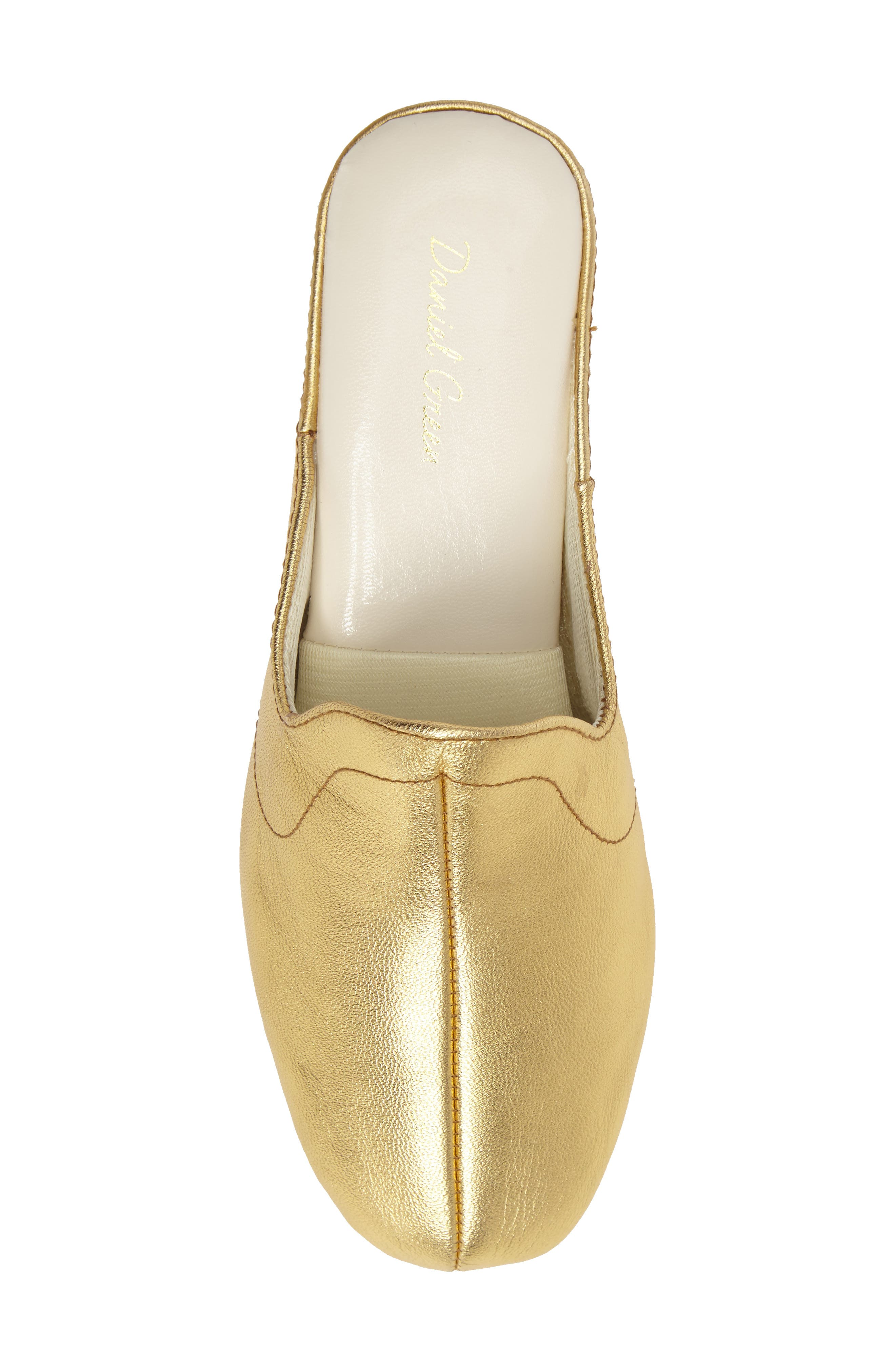 Glamour Scuff Slipper,                             Alternate thumbnail 4, color,                             Gold Leather