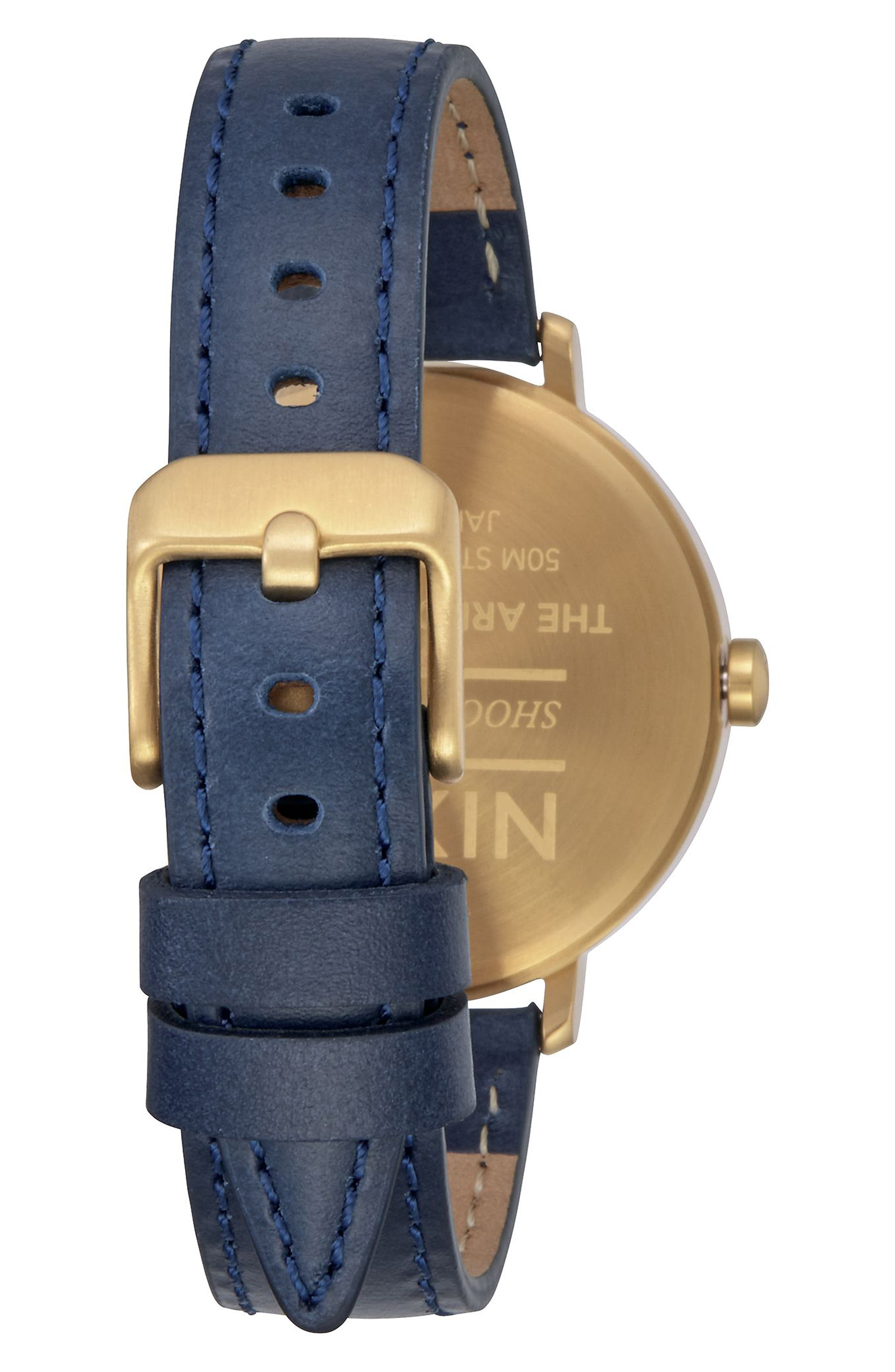 The Arrow Leather Strap Watch, 38mm,                             Alternate thumbnail 2, color,                             Navy/ White/ Gold