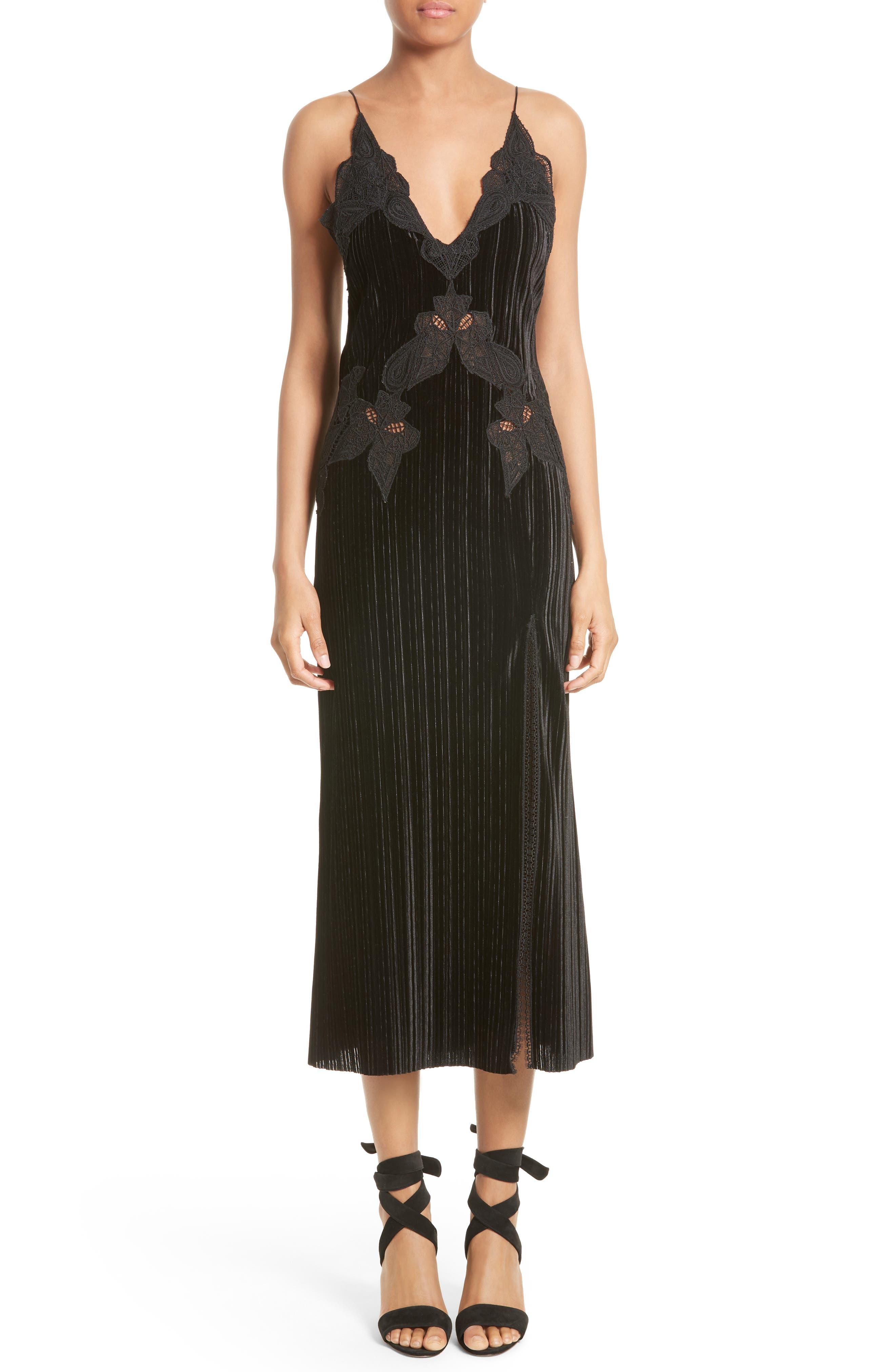 Lace Appliqué Crinkled Velvet Dress,                             Main thumbnail 1, color,                             Black