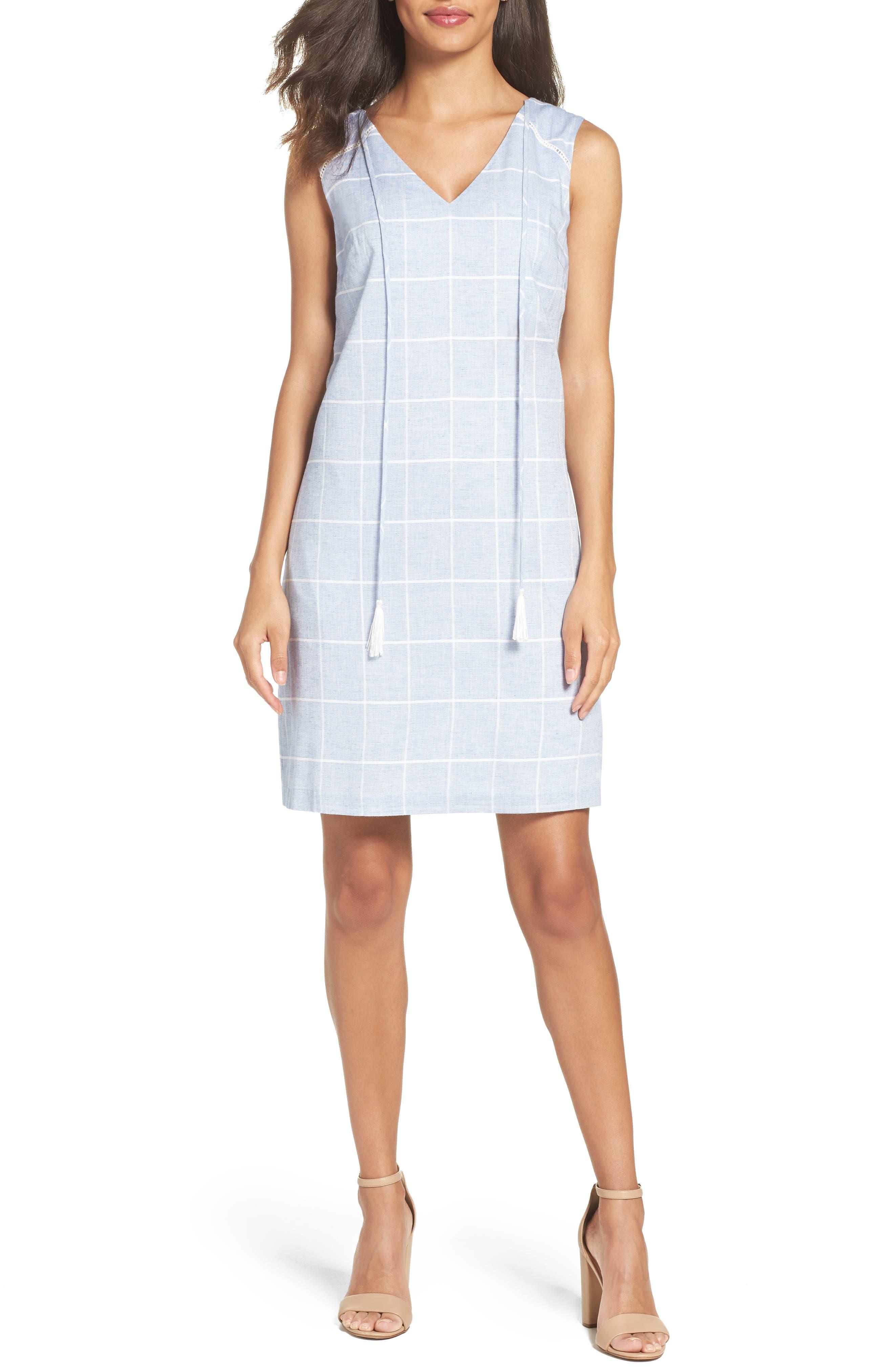 Cotton A-Line Dress,                         Main,                         color, Blue/ White