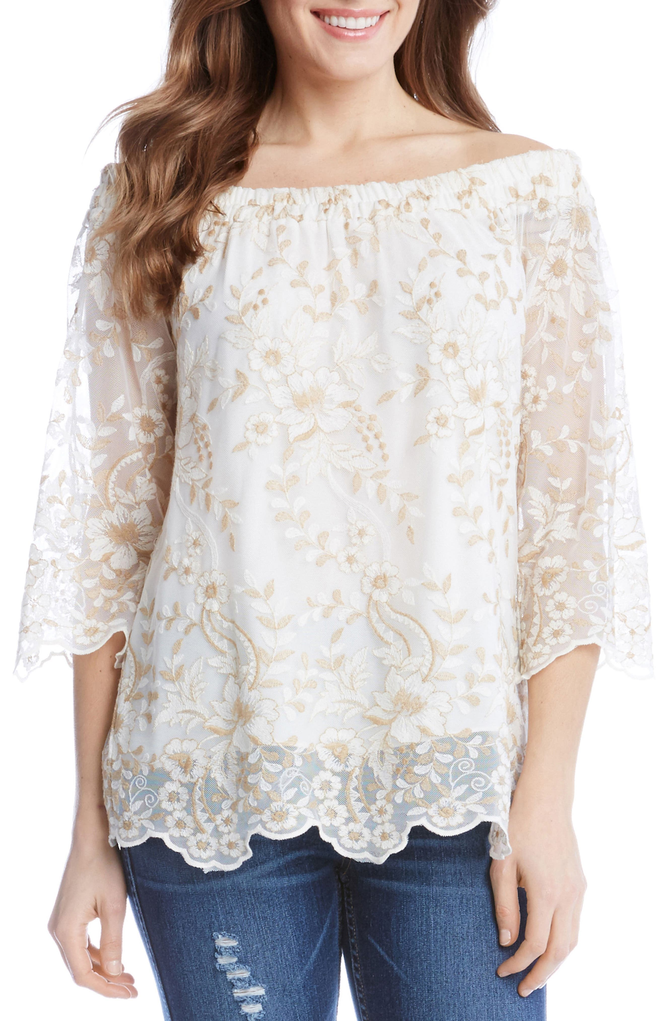 Embroidered Mesh Off the Shoulder Top,                         Main,                         color, Cream